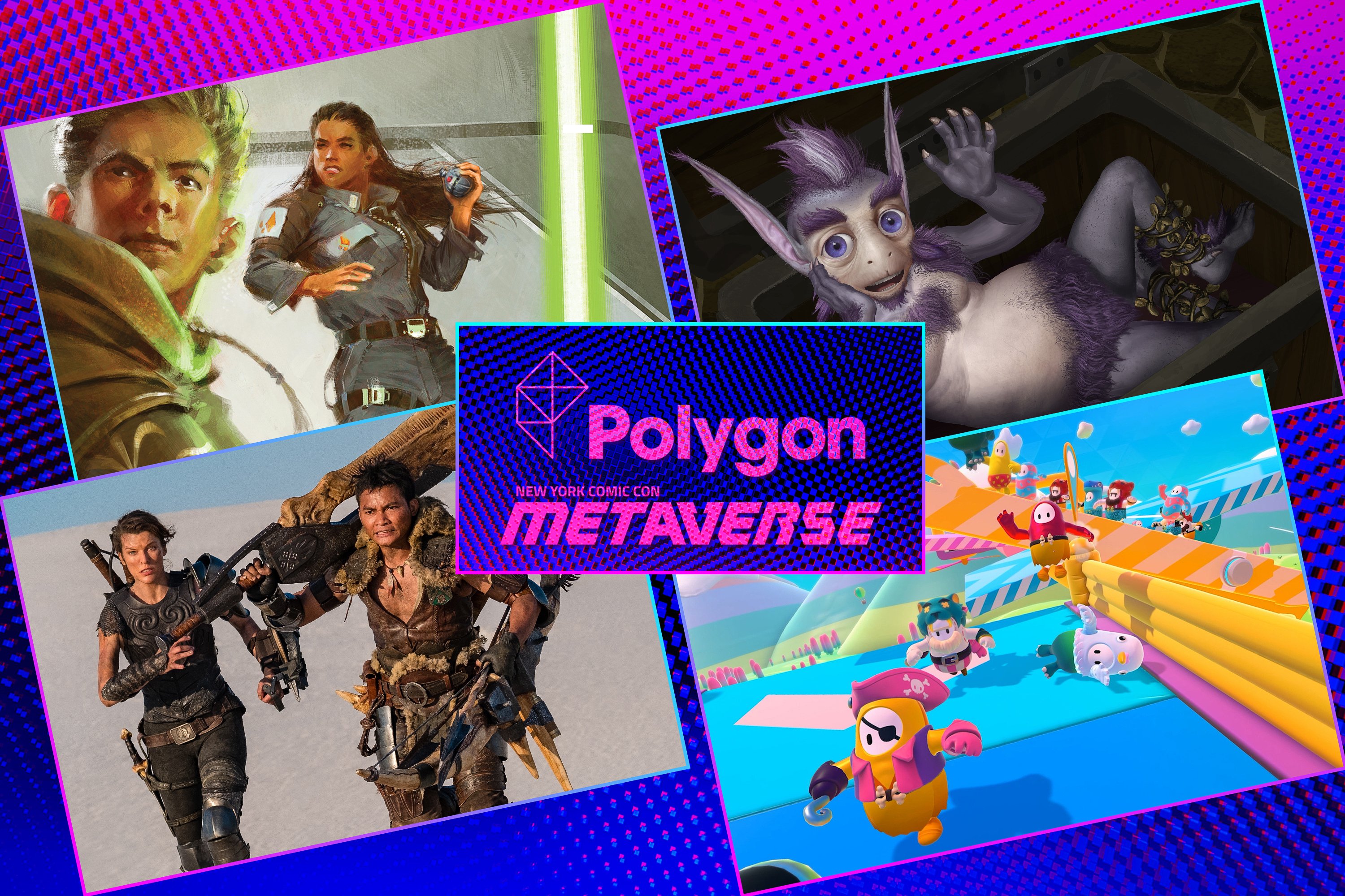 Graphic grid of four rectangles on bright purple blue background with various screen images and a Polygon/Metaverse logo