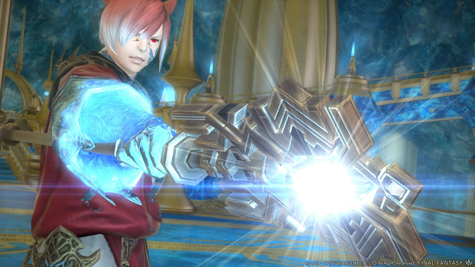 A red and white haired Final Fantasy character holds up a staff that shines with white light