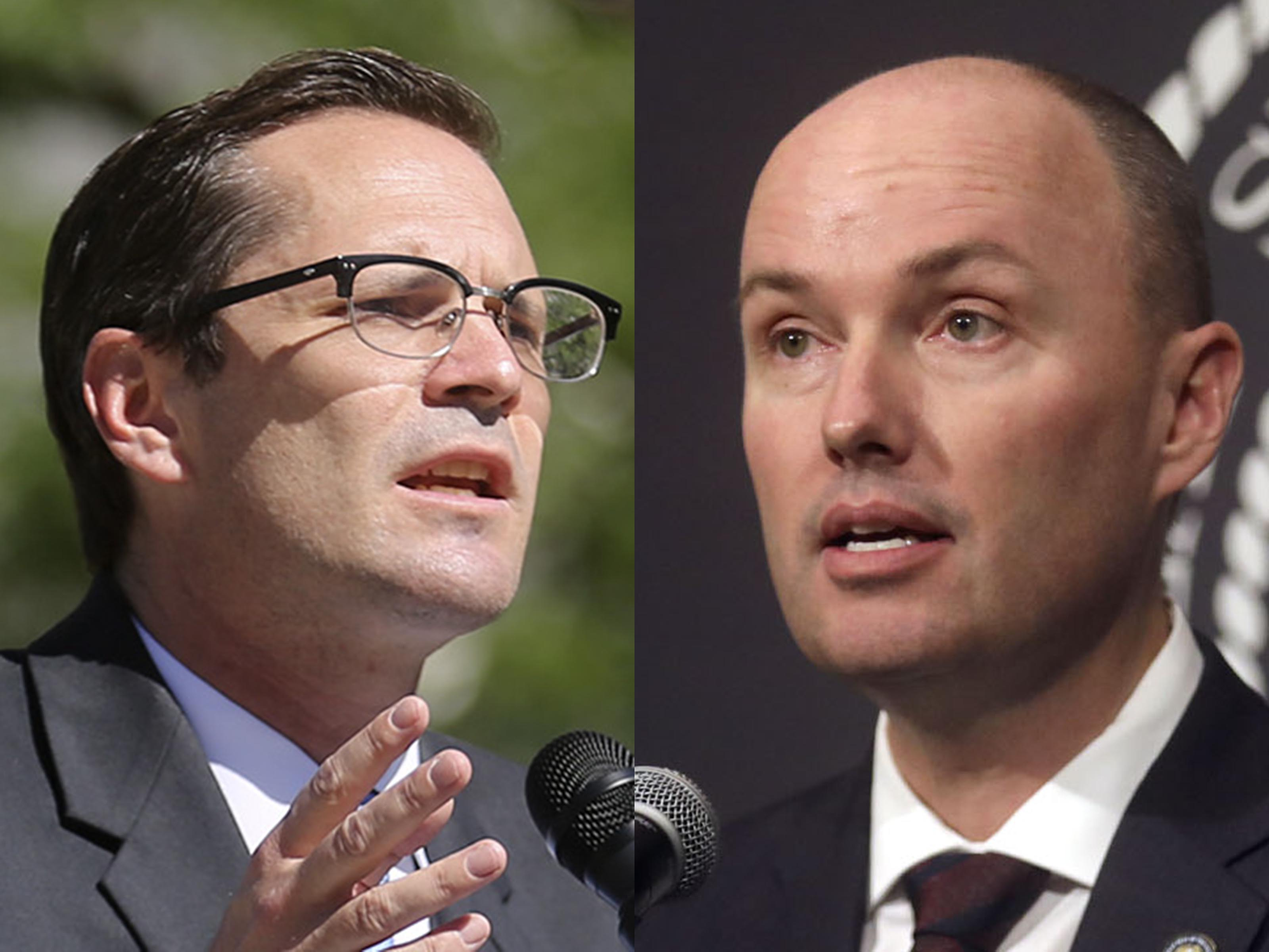 Democrat Chris Peterson and Lt. Gov. Spencer Cox, pictured in these 2020 file photos, are running for Utah governor.