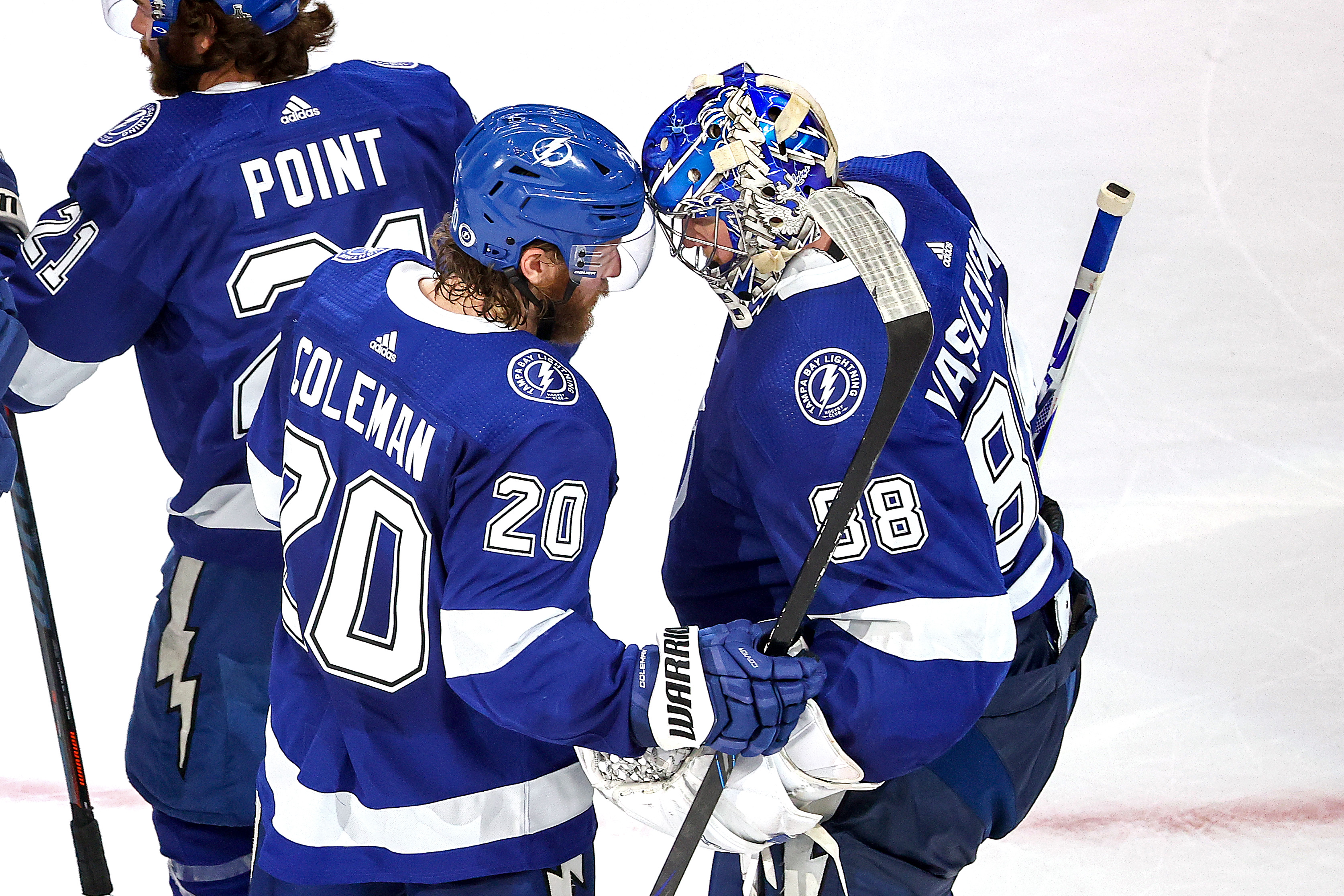 EDMONTON, ALBERTA - SEPTEMBER 21: Blake Coleman #20 and Andrei Vasilevskiy #88 of the Tampa Bay Lightning celebrate the teams 3-2 victory against the Dallas Stars in Game Two of the 2020 NHL Stanley Cup Final at Rogers Place on September 21, 2020 in Edmonton, Alberta, Canada.
