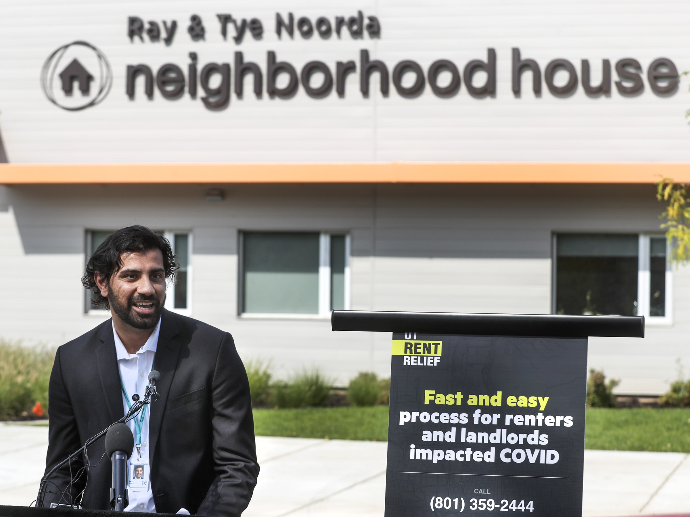 Sahil Oberoi, director of housing and case management for Utah Community Action, talks about rent relief programs for individuals and families whose income was impacted by the COVID-19 pandemic during a press conference at the Neighborhood House in Salt Lake City on Wednesday, Sept. 23, 2020. Salt Lake City Mayor Erin Mendenhall and Salt Lake County Mayor Jenny Wilson held the joint press conference to update information for city and county residents about rent relief programs and the Centers for Disease Control and Prevention's eviction moratorium.