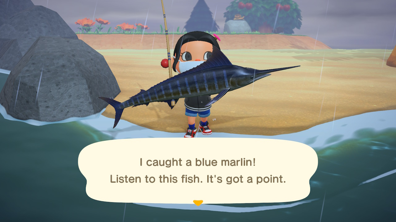An Animal Crossing character holding a Blue Marlin