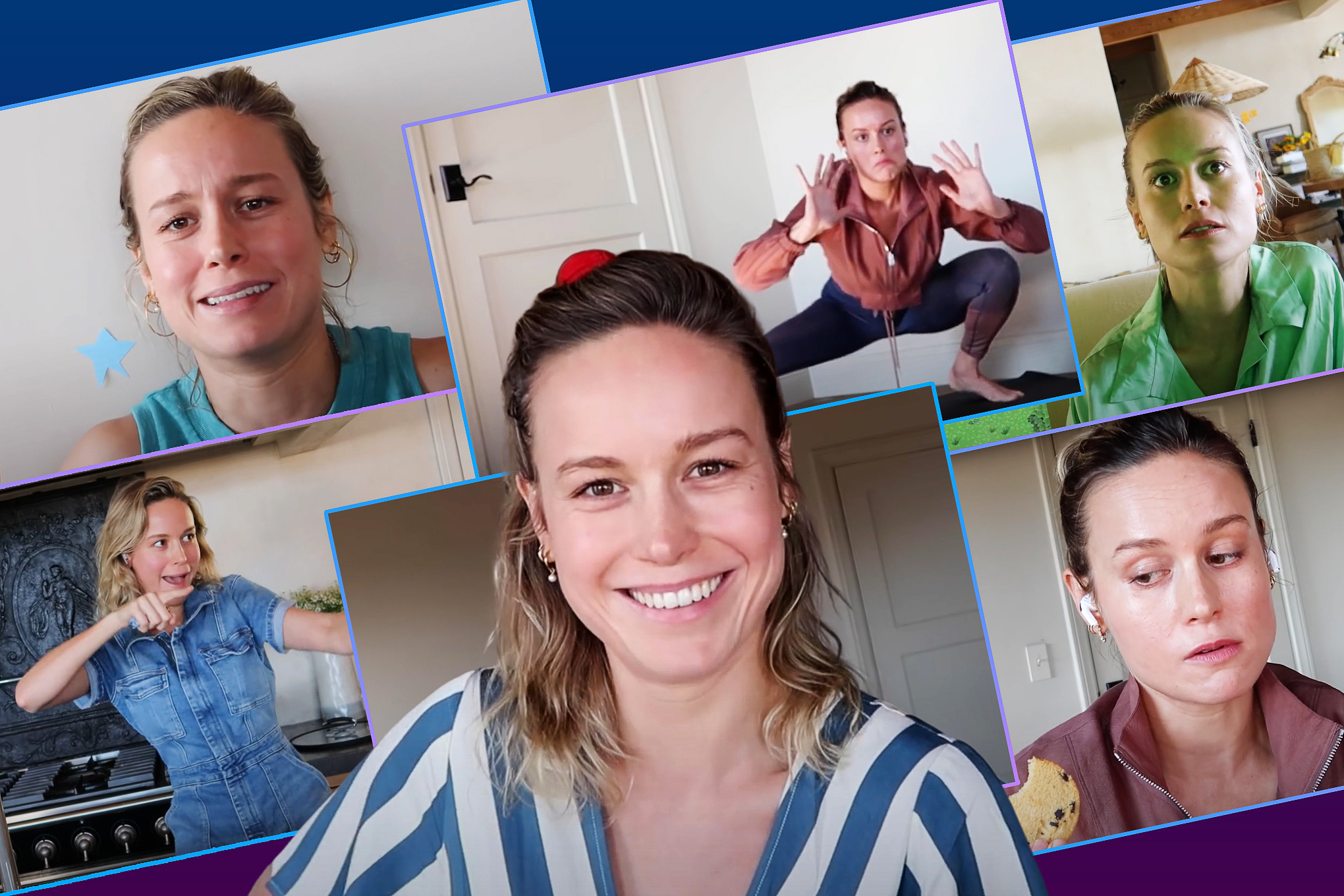 A collage of images of Brie Larson from her channel