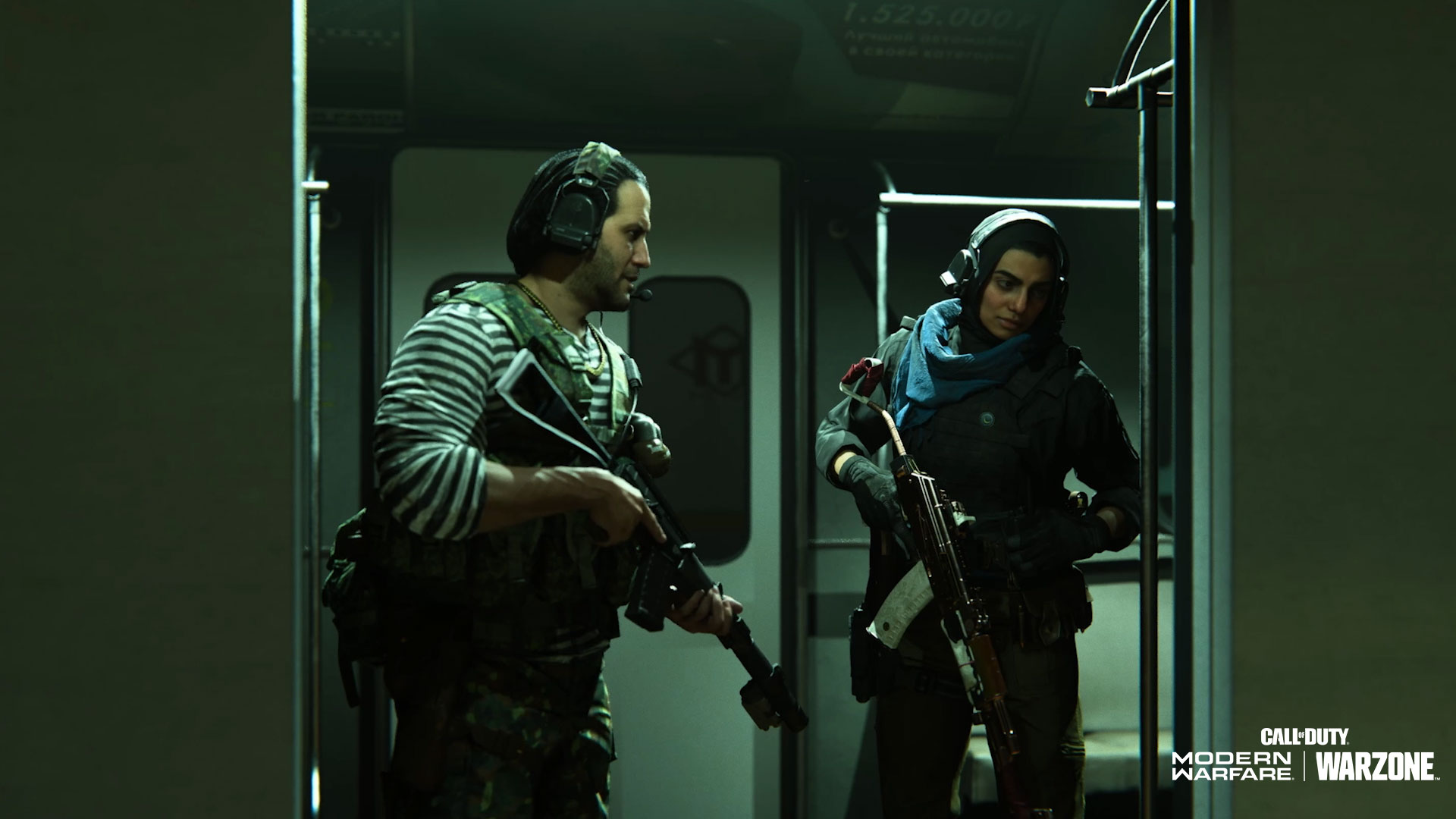 Two operators from Call of Duty: Warzone season 6 boarding a subway car