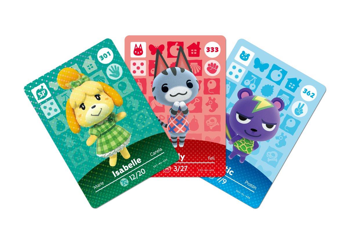 Three amiibo cards for Animal Crossing.