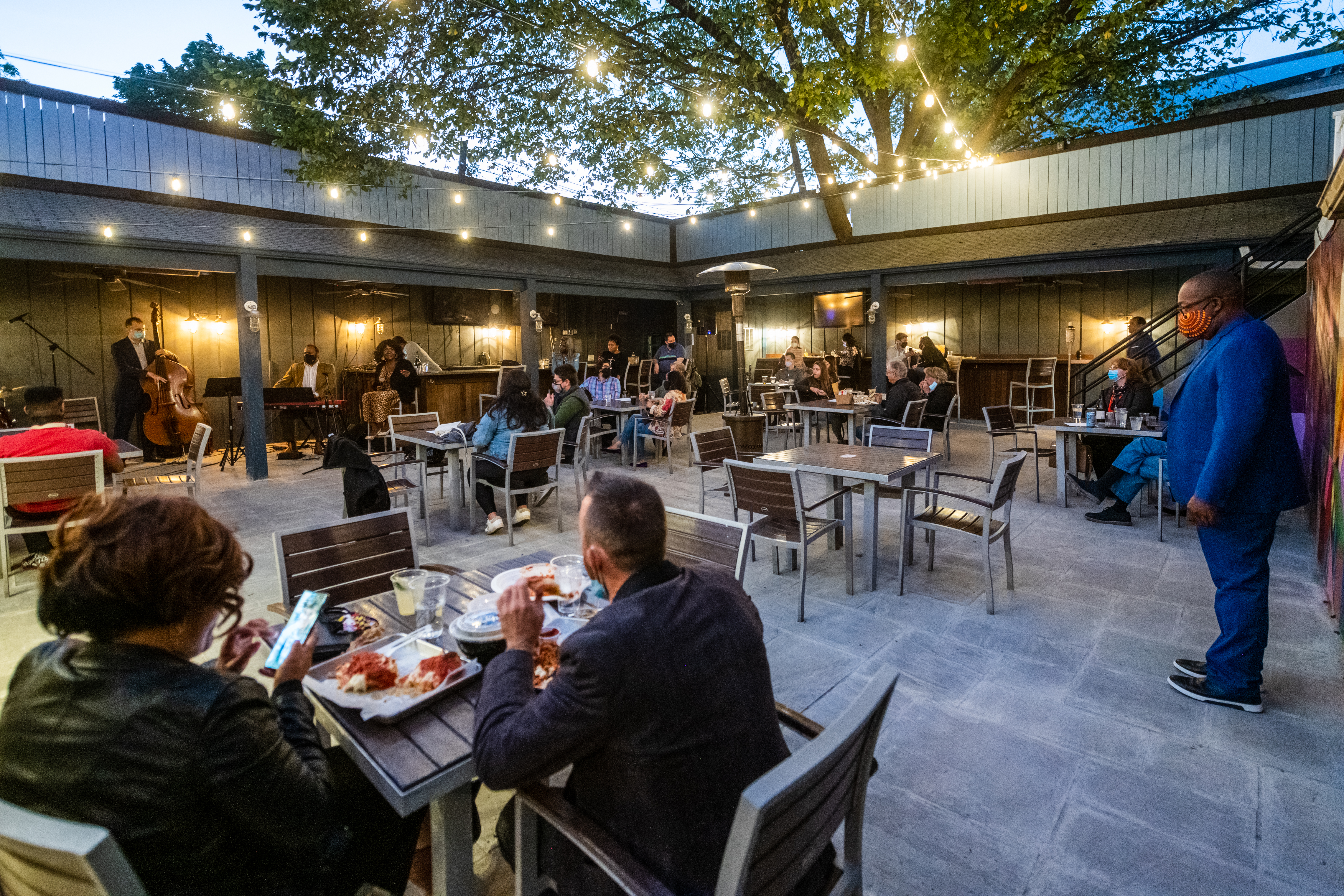 Ghost Line, Glover Park's new virtual food hall, just opened up a patio where takeout customers can spread out and listen to live jazz.