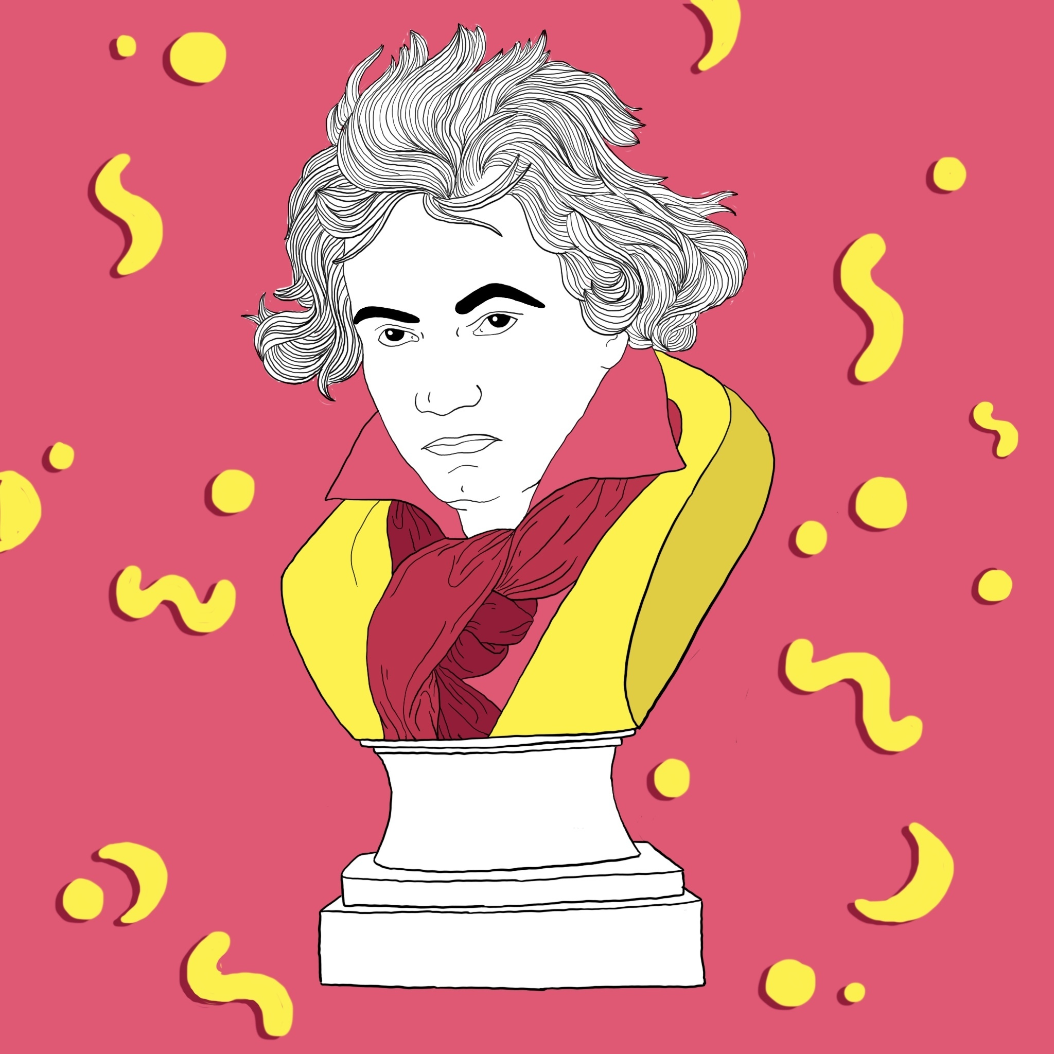 An illustrated bust of Beethoven.