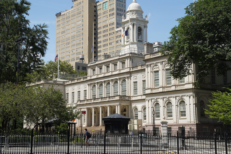 Barricades surround NYC's City Hall in Lower Manhattan.
