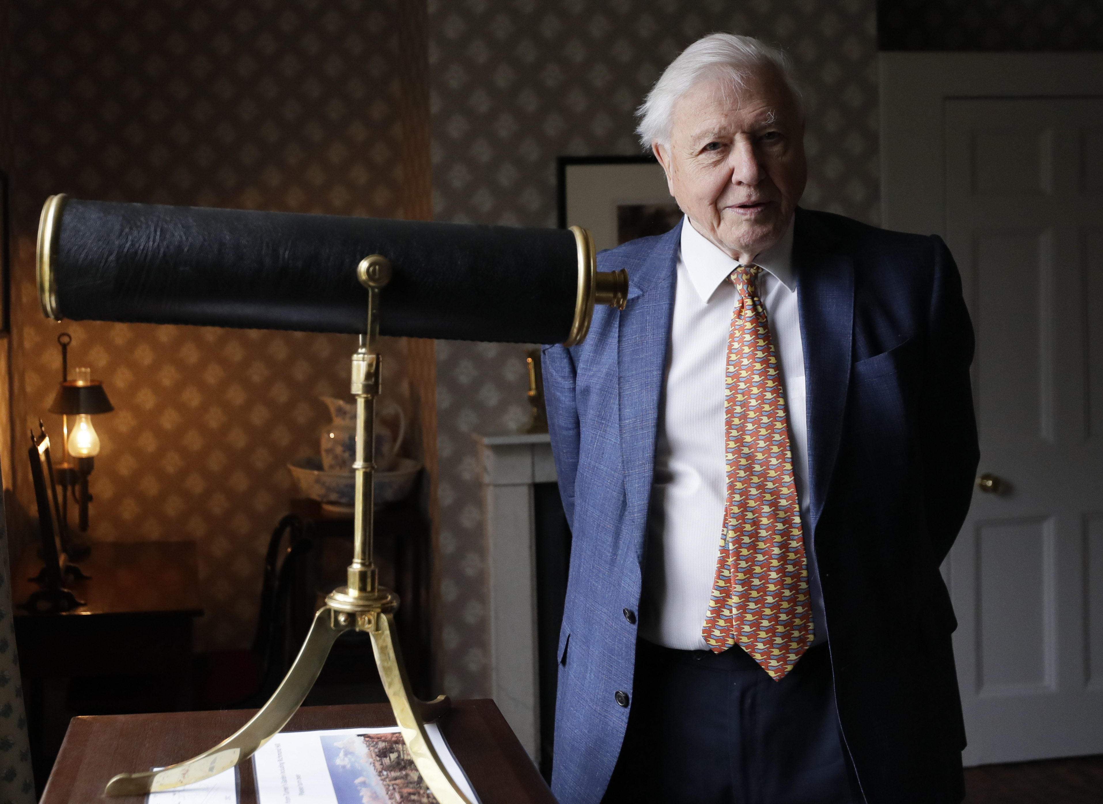 Wildlife presenter David Attenborough visits to open Turner and The Thames exhibition, at the recently restored home of the British landscape artist J.M.W. Turner, in Twickenham, London, Friday, Jan. 10, 2020. This is the first time Turner's original artwork has returned to the house he designed for himself in Twickenham. The exhibition, featuring rarely seen oil studies of the river Thames, will be open to the public from Jan.11 to March 29.
