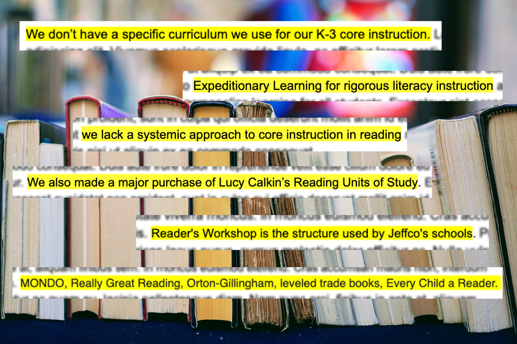 On a background of books, snippets show Jeffco principal responses about their core reading curriculum.