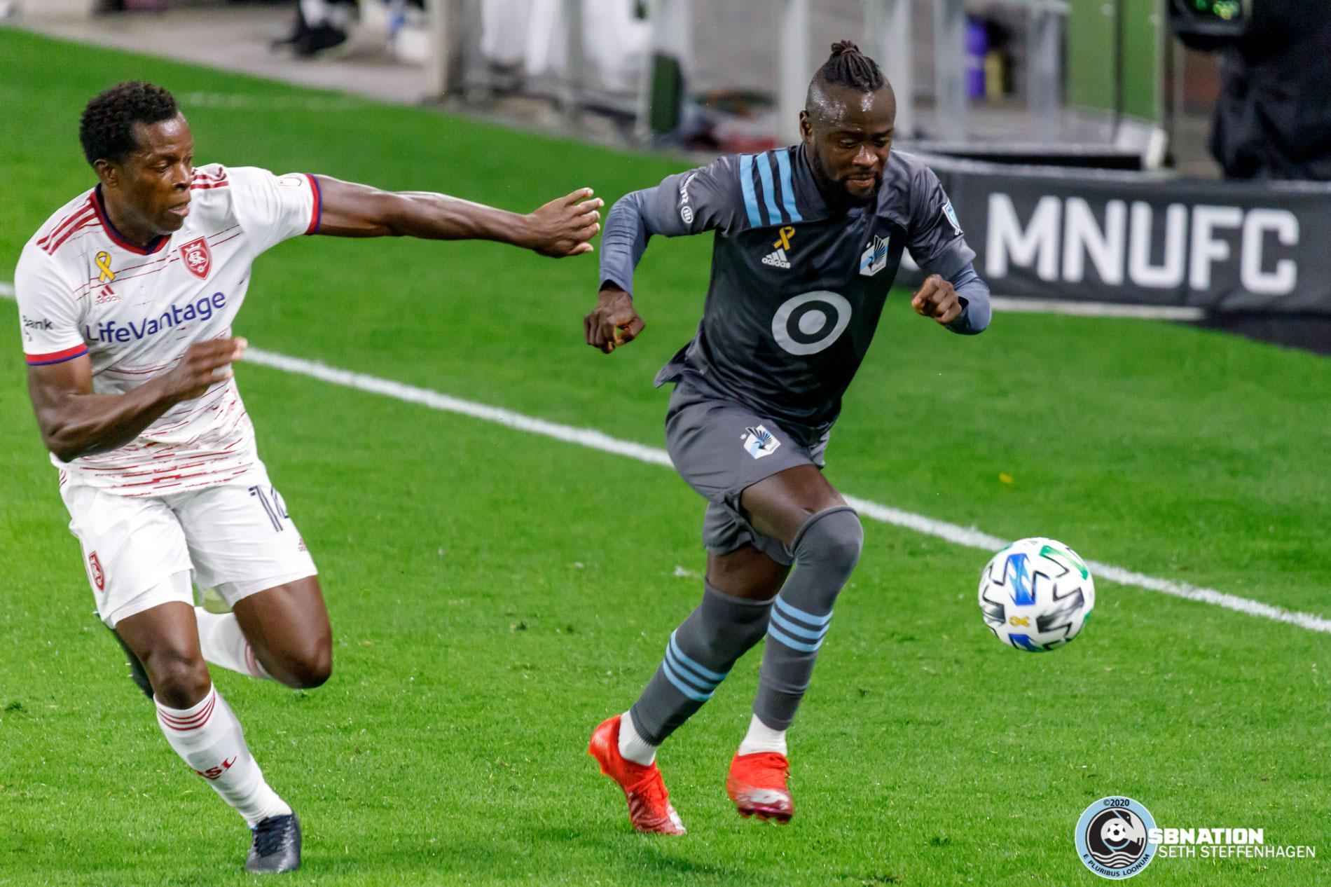 September 27, 2020 - Saint Paul, Minnesota, United States - Real Salt Lake defender Nedum Onuoha (14) chases down Minnesota United forward Kei Kamara (16) during the match at Allianz Field.