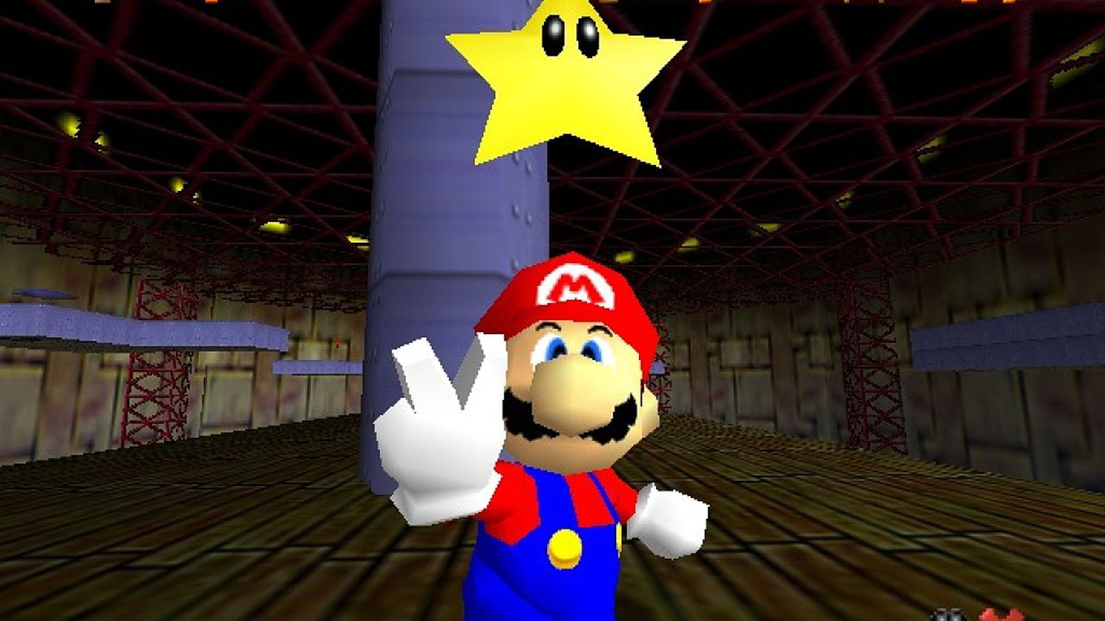 Mario throws up a peace sign after collecting a Power Star in Super Mario 64.
