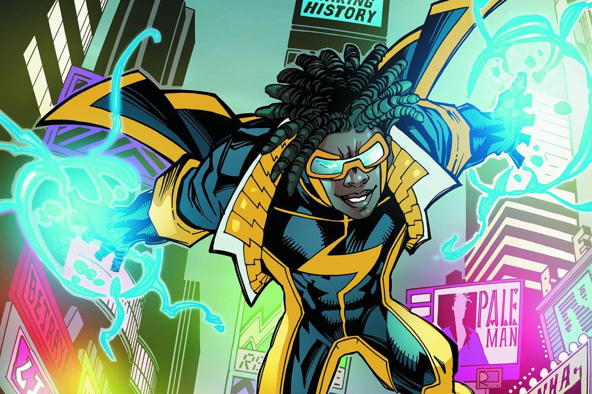 The superhero Static on the cover of Static Shock #1, DC Comics (2011).
