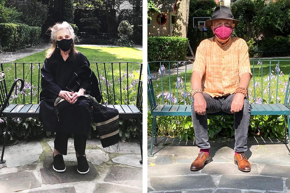 Pat Steir and Francesco Clemente pose for portraits in New York City's MacDougal-Sullivan Gardens.