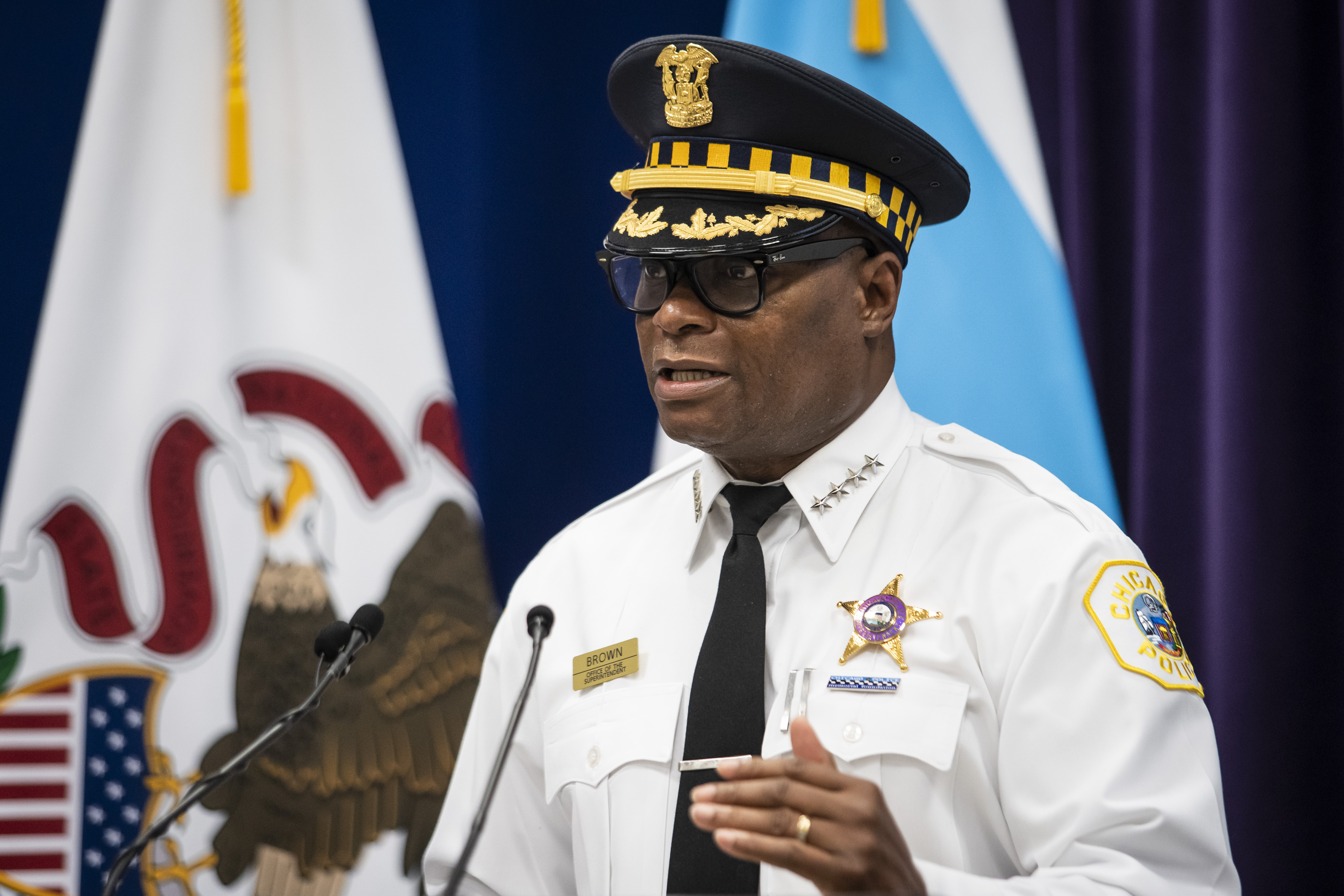 Chicago Police Supt. David Brown discusses the city's weekend gun violence during a press conference at CPD headquarters in Bronzeville, Monday morning, Sept. 28, 2020.