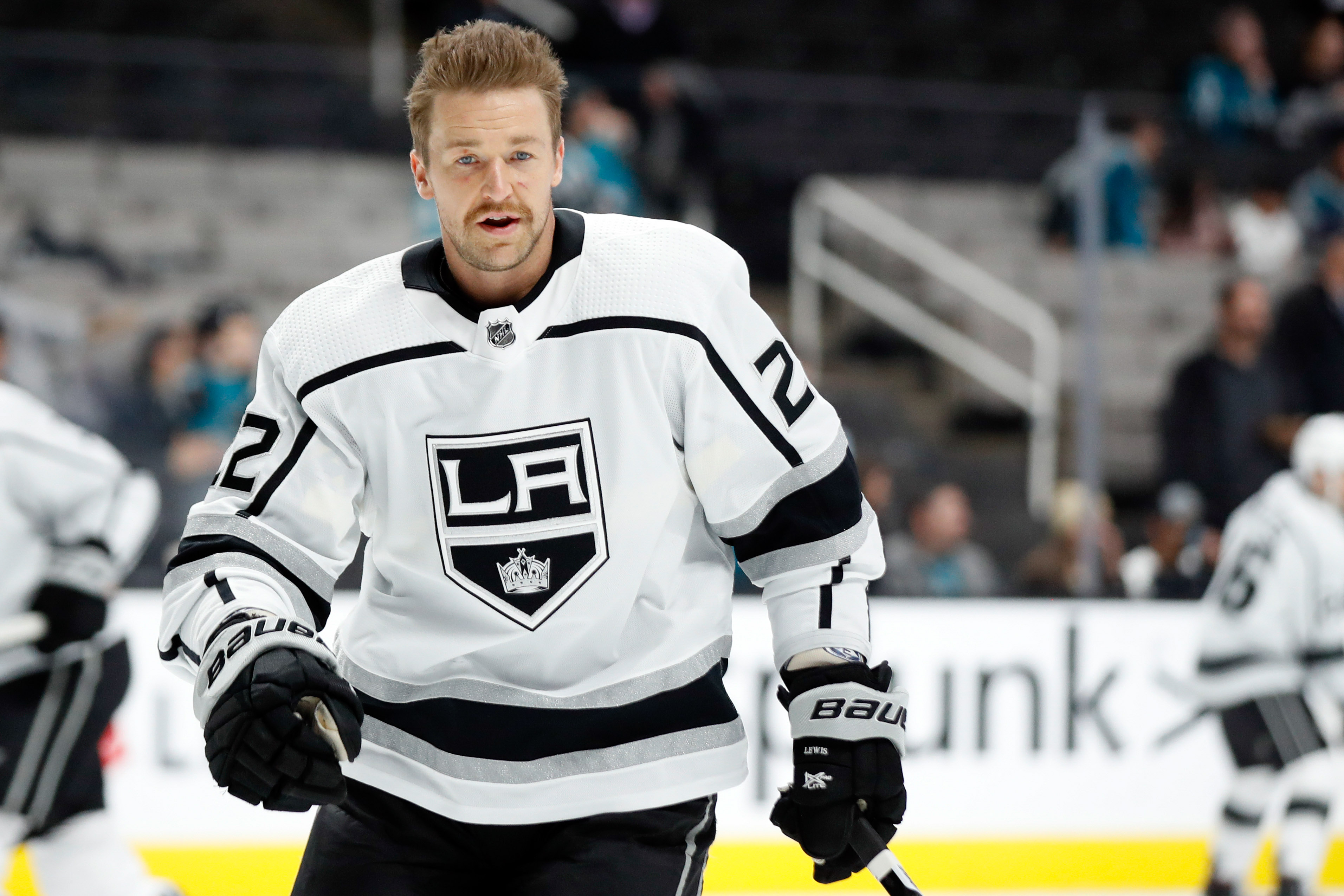 Nov 29, 2019; San Jose, CA, USA; Los Angeles Kings center Trevor Lewis (22) warms-up on the ice before the game against the San Jose Sharks at SAP Center at San Jose.
