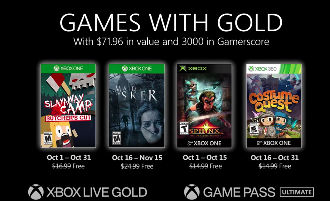 Games With Gold titles for October 2020