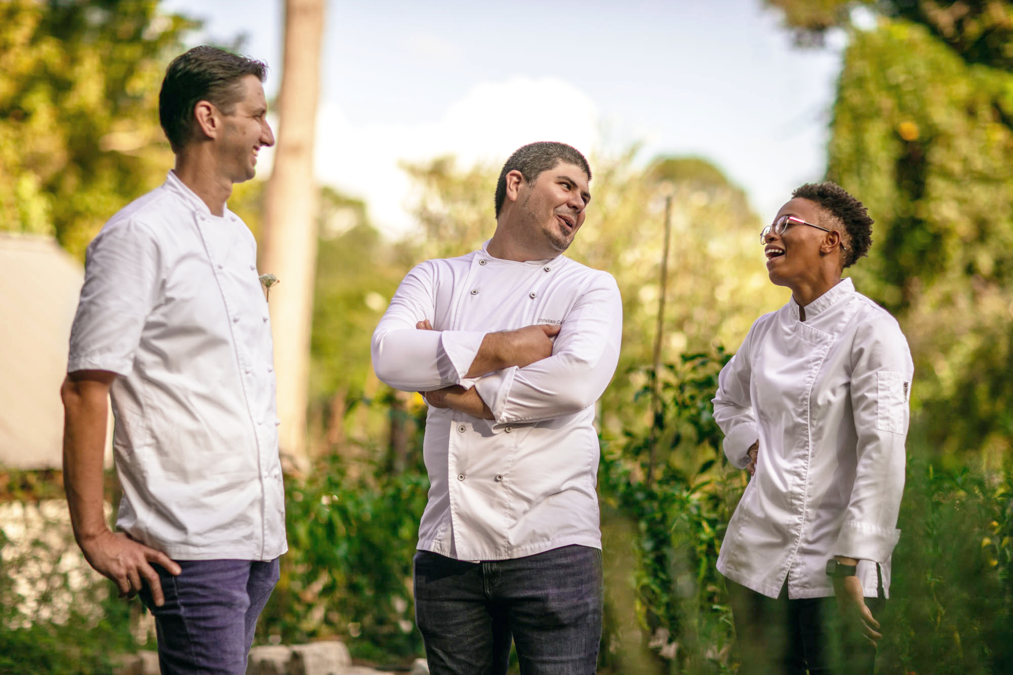 Left to right: Operating partner, executive chef Christopher Grossman, pastry chef Christian Castillo, and executive sous chef Jessica Mullice
