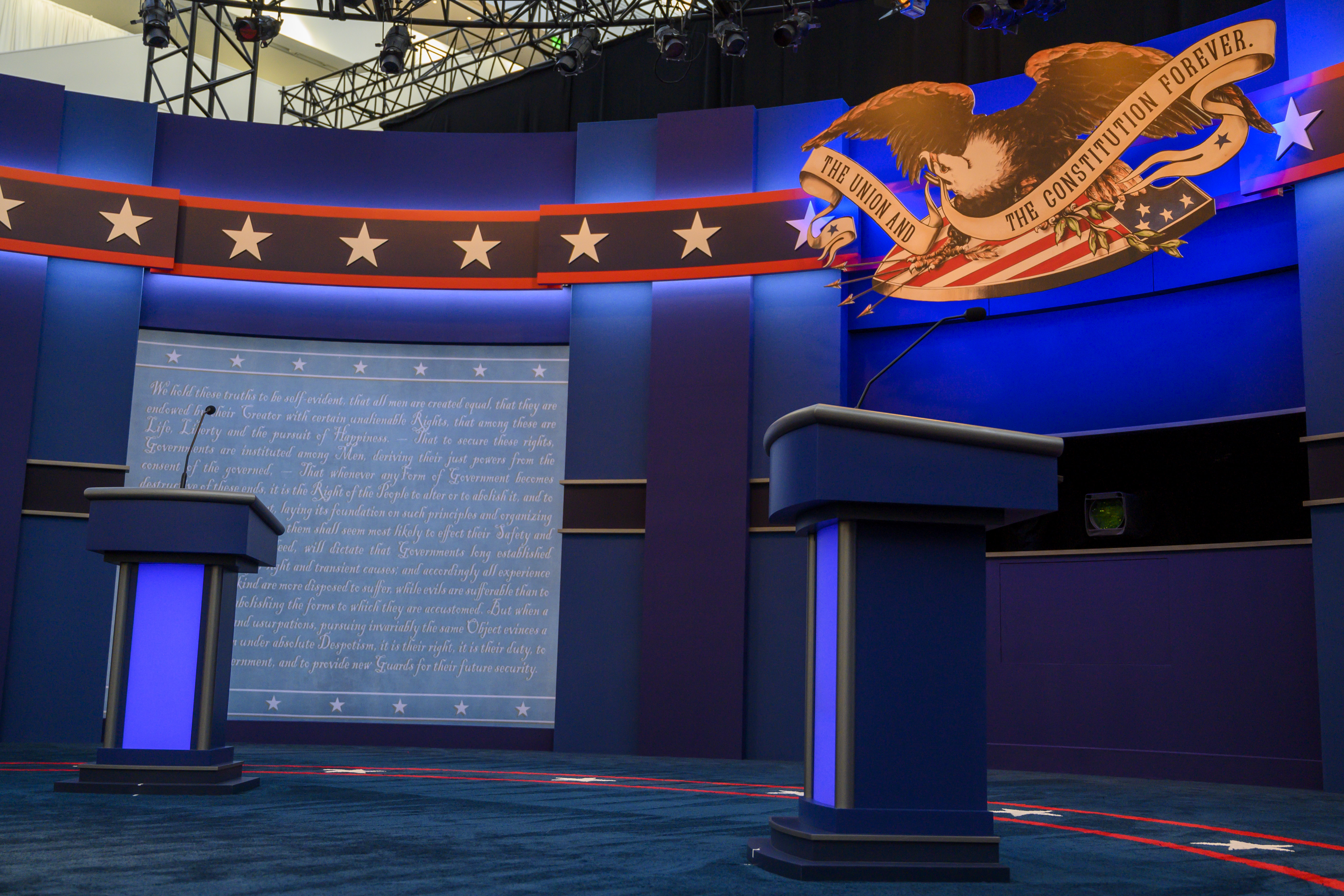 The empty stage of the first US Presidential debate is seen as workers complete the final touches on September 29,2020 in Cleveland, Ohio.