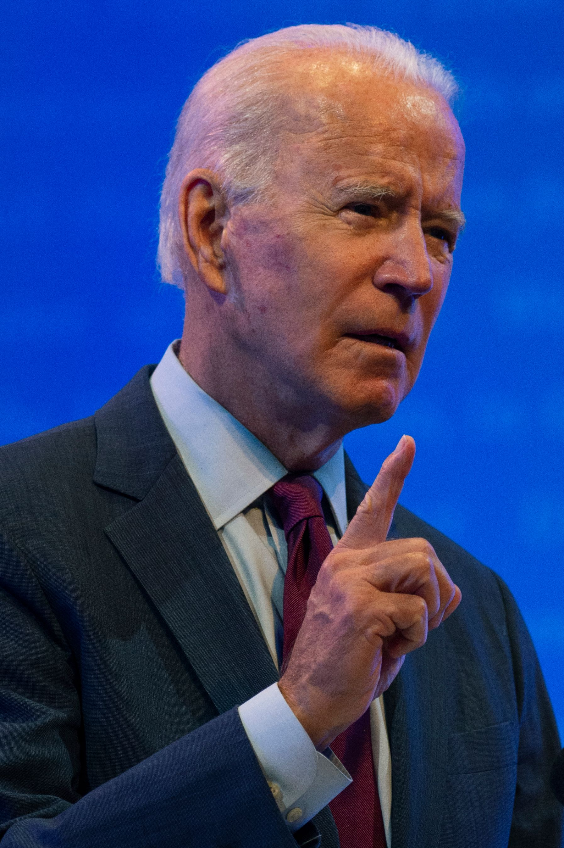 Democratic presidential nominee and former Vice President Joe Biden delivers a speech at a local theater in Wilmington, Delaware on September 27, 2020.