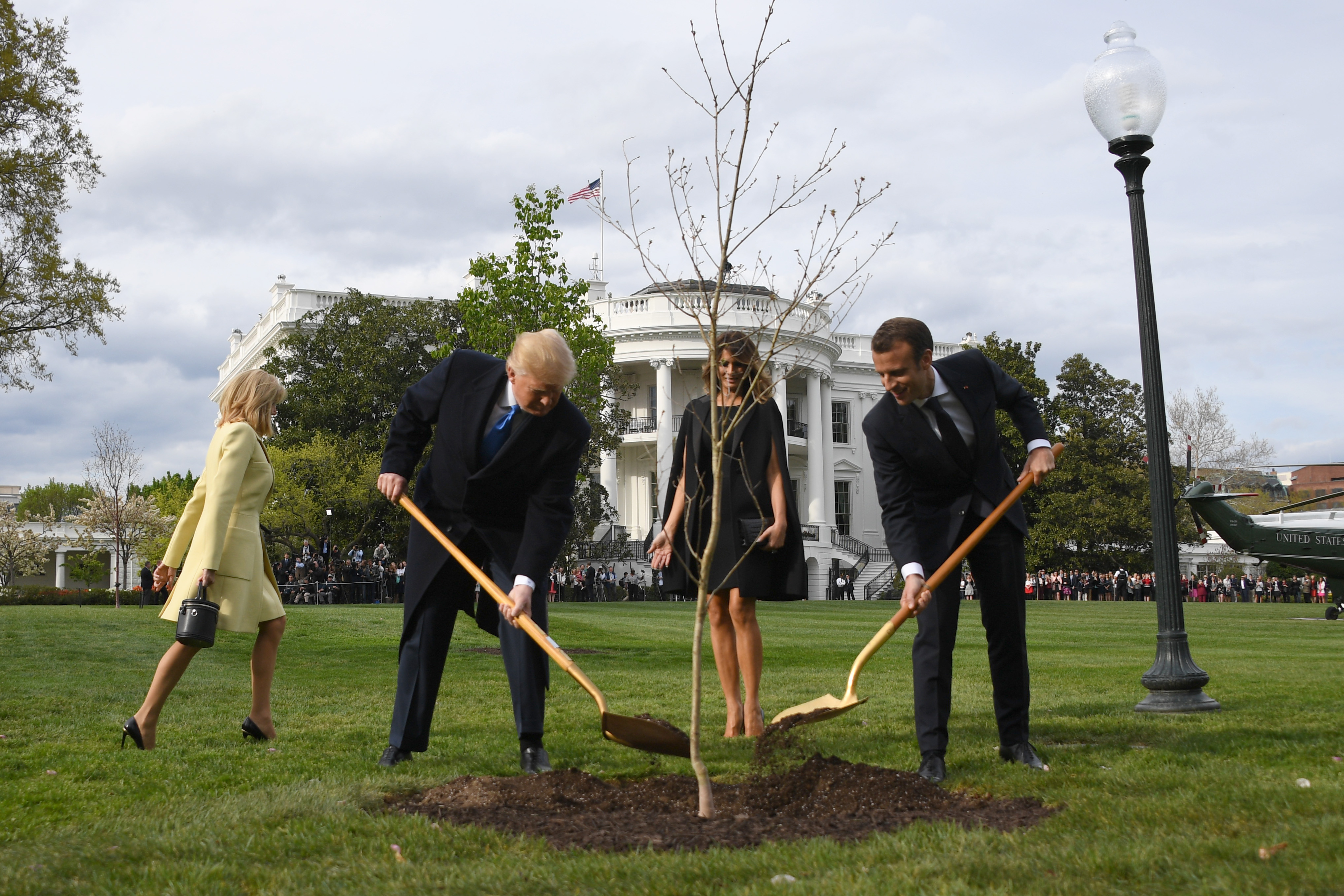 President Donald Trump and French President Emmanuel Macron plant a tree on the South lawn of the White House.