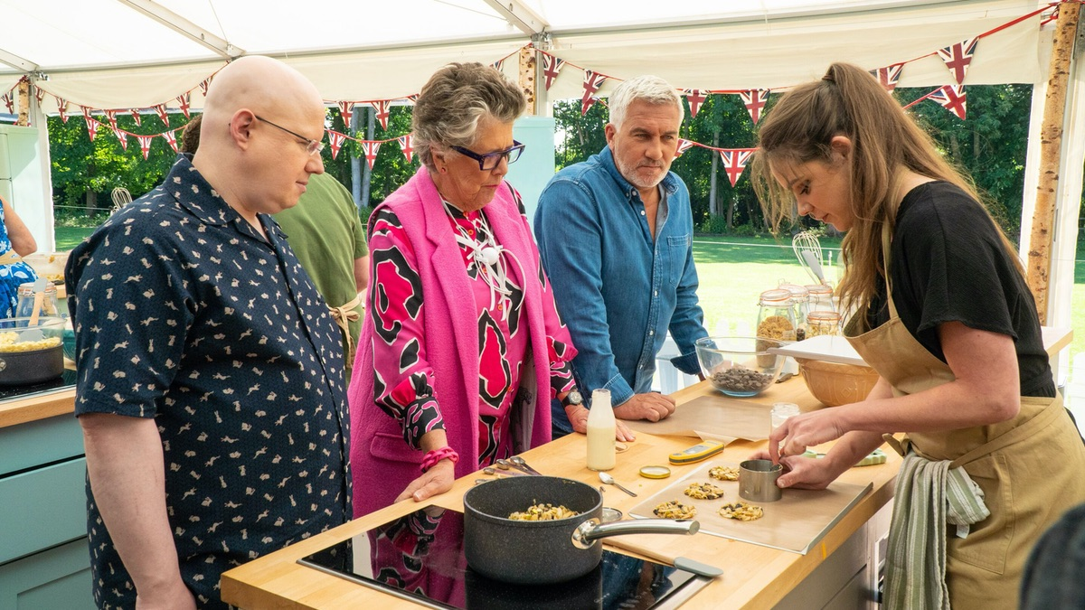 Great British Bake Off Biscuit Week, with judges Matt Lucas, Prue Leith, and Paul Hollywood