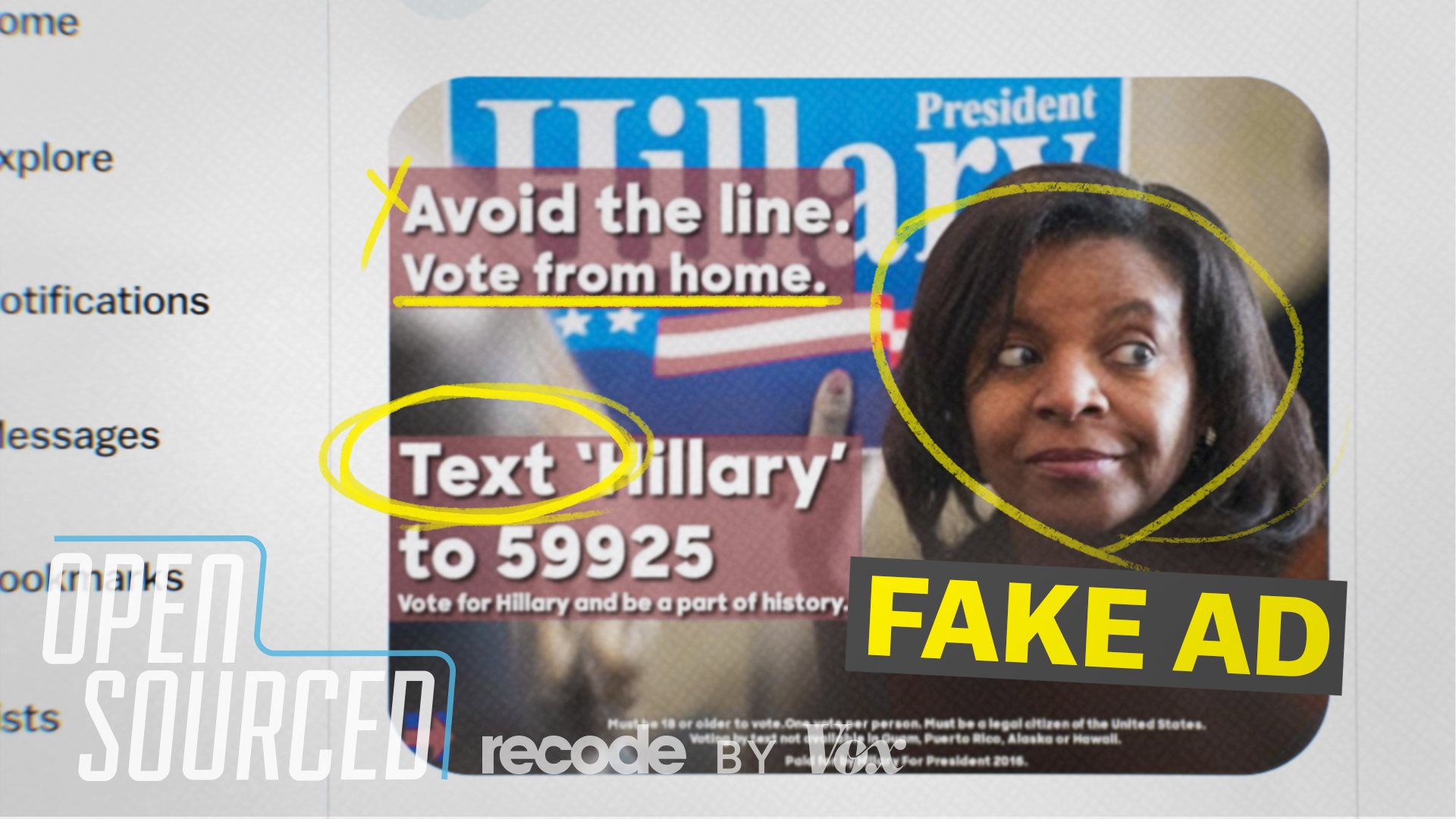 "A fake ad from the 2016 election claimed encouraged people to ""vote"" by text."