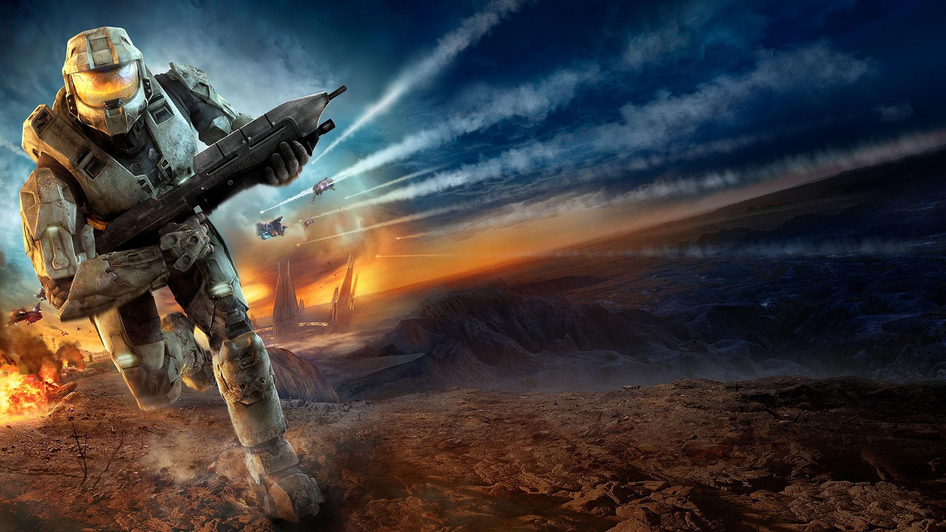 Halo 3 artwork of Master Chief running