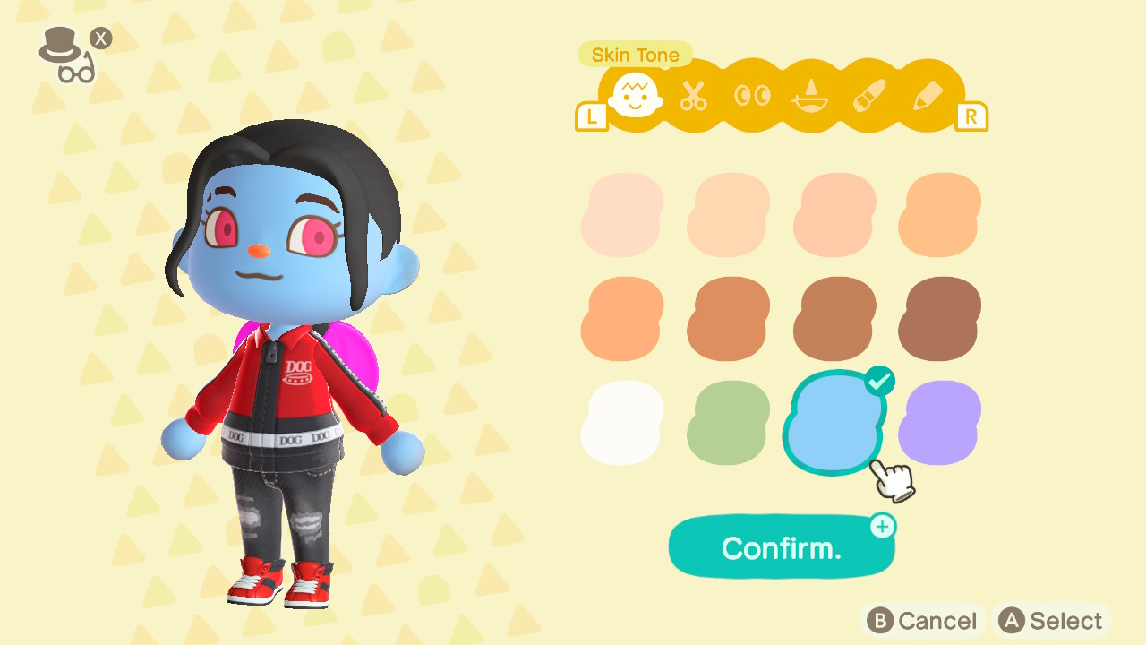 An Animal Crossing character picks out a new blue skin tone