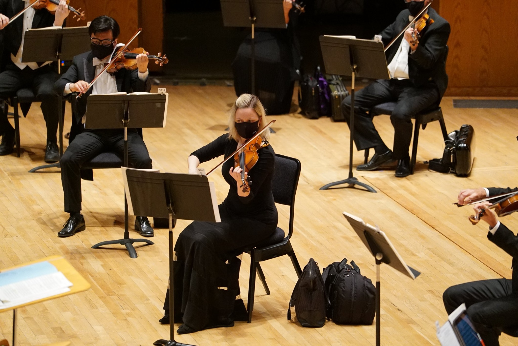 The Utah Symphony utilizes face masks and social distancing during a performance in Abravanel Hall in Salt Lake City in this 2020 handout photo.