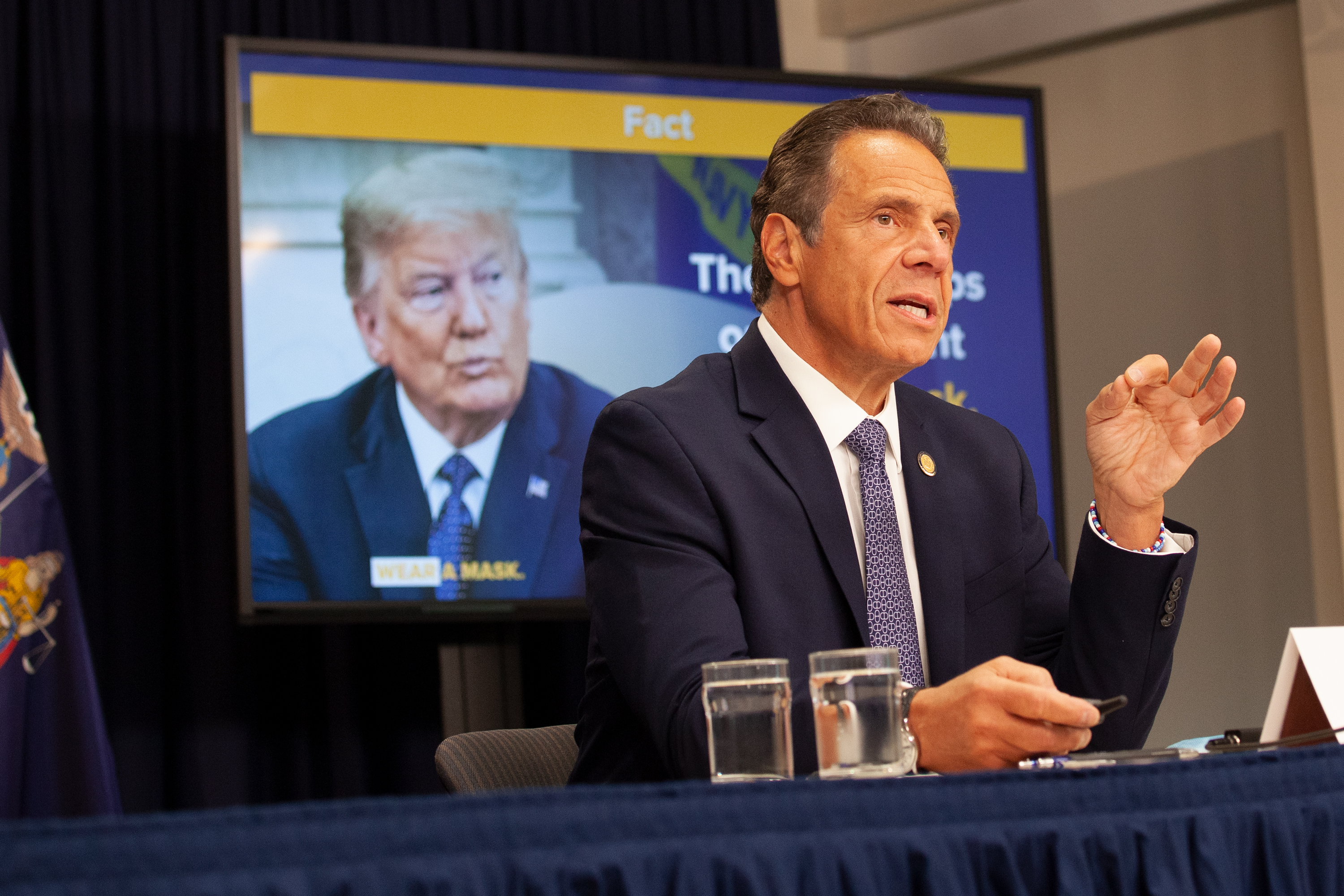 Gov. Andrew Cuomo holds a press conference in his Manhattan office, July 1, 2020.