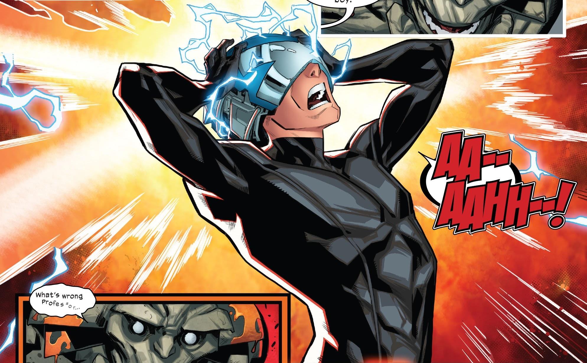Professor X screams as feedback from Otherworld blazes through the Cerebro network in X-Factor #4, Marvel Comics (2020).