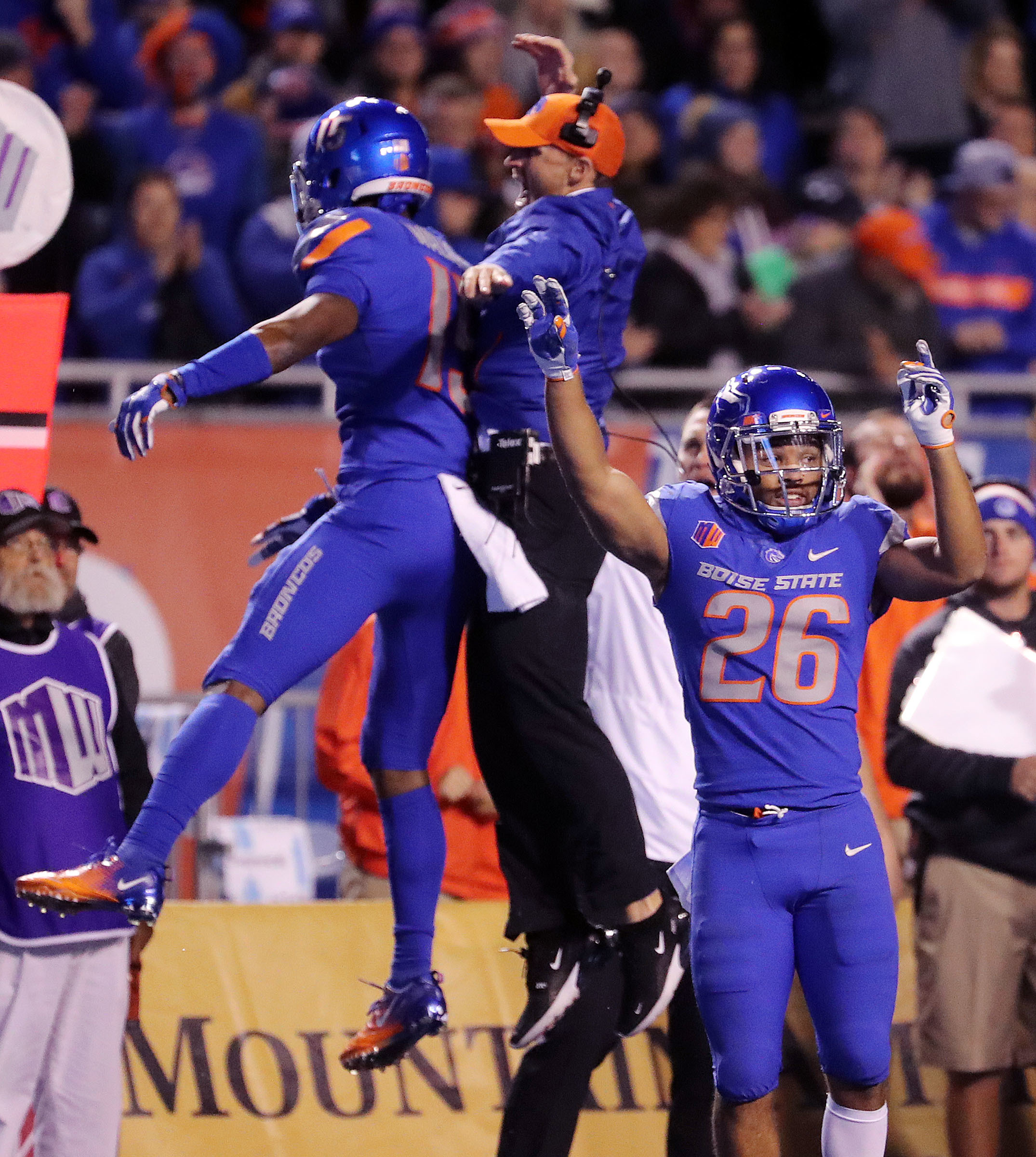 Boise State Broncos cornerback Avery Williams (26) celebrates as the Boise State Broncos recover a BYU fumble during NCAA football in Boise on Saturday, Nov. 3, 2018.