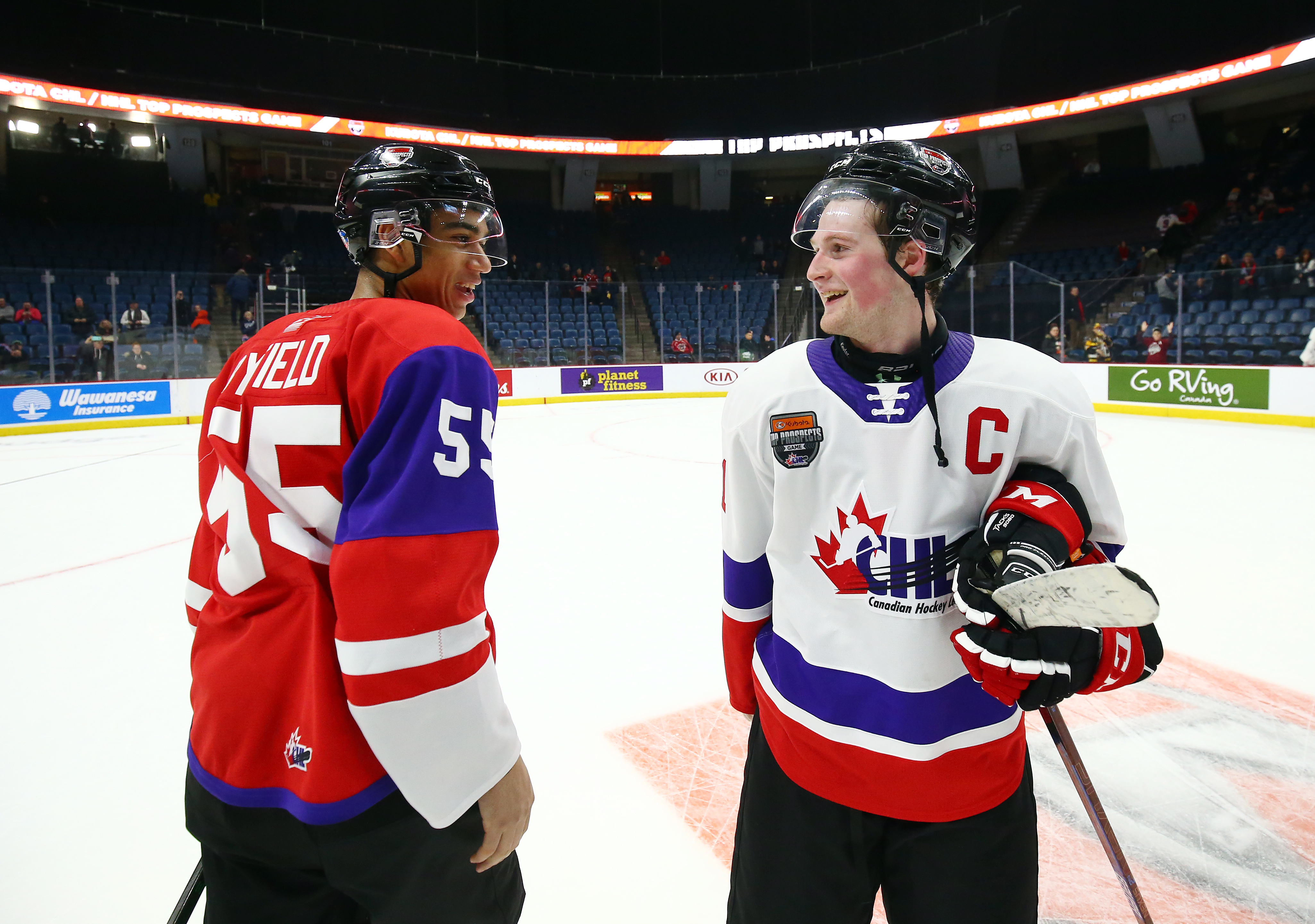 HAMILTON, ON - JANUARY 16: Alexis Lafreniere #11 of Team White and Quinton Byfield #55 of Team Red talk following the final whistle of the 2020 CHL/NHL Top Prospects Game at FirstOntario Centre on January 16, 2020 in Hamilton, Canada.
