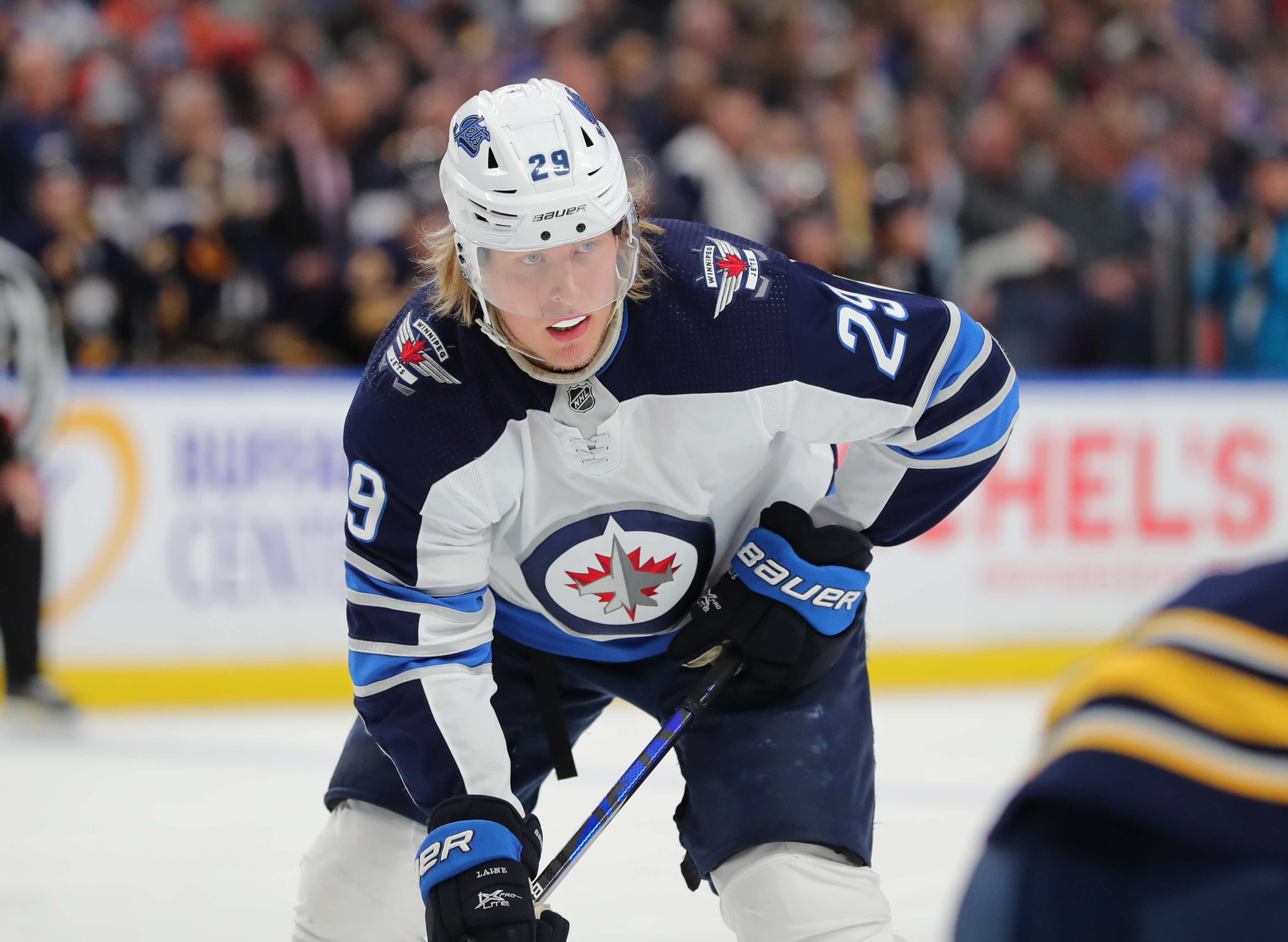 BUFFALO, NY - FEBRUARY 23: Patrik Laine #29 of the Winnipeg Jets during a game against the Buffalo Sabres at KeyBank Center on February 23, 2020 in Buffalo, New York.