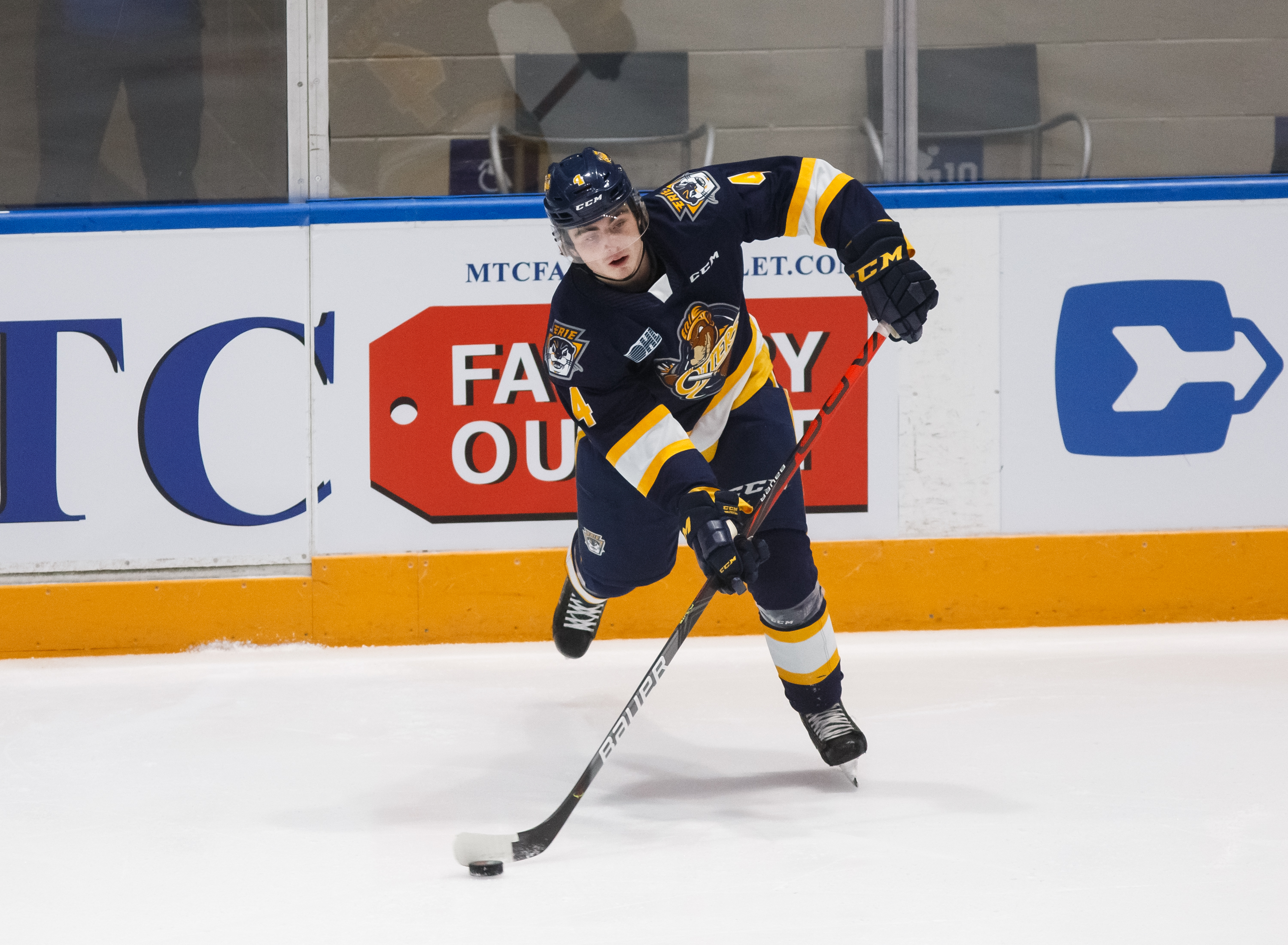 Jamie Drysdale #4 of the Erie Otters passes the puck during an OHL game against the Oshawa Generals at the Tribute Communities Centre on November 22, 2019 in Oshawa, Ontario, Canada.