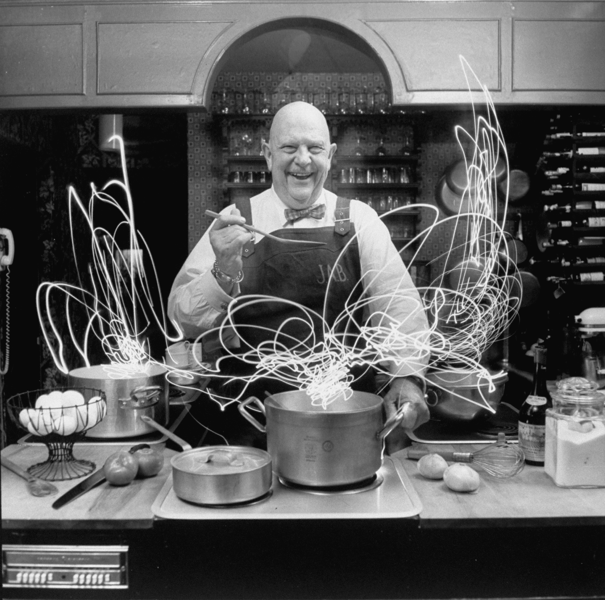 Author and top chef James A. Beard in the kitchen