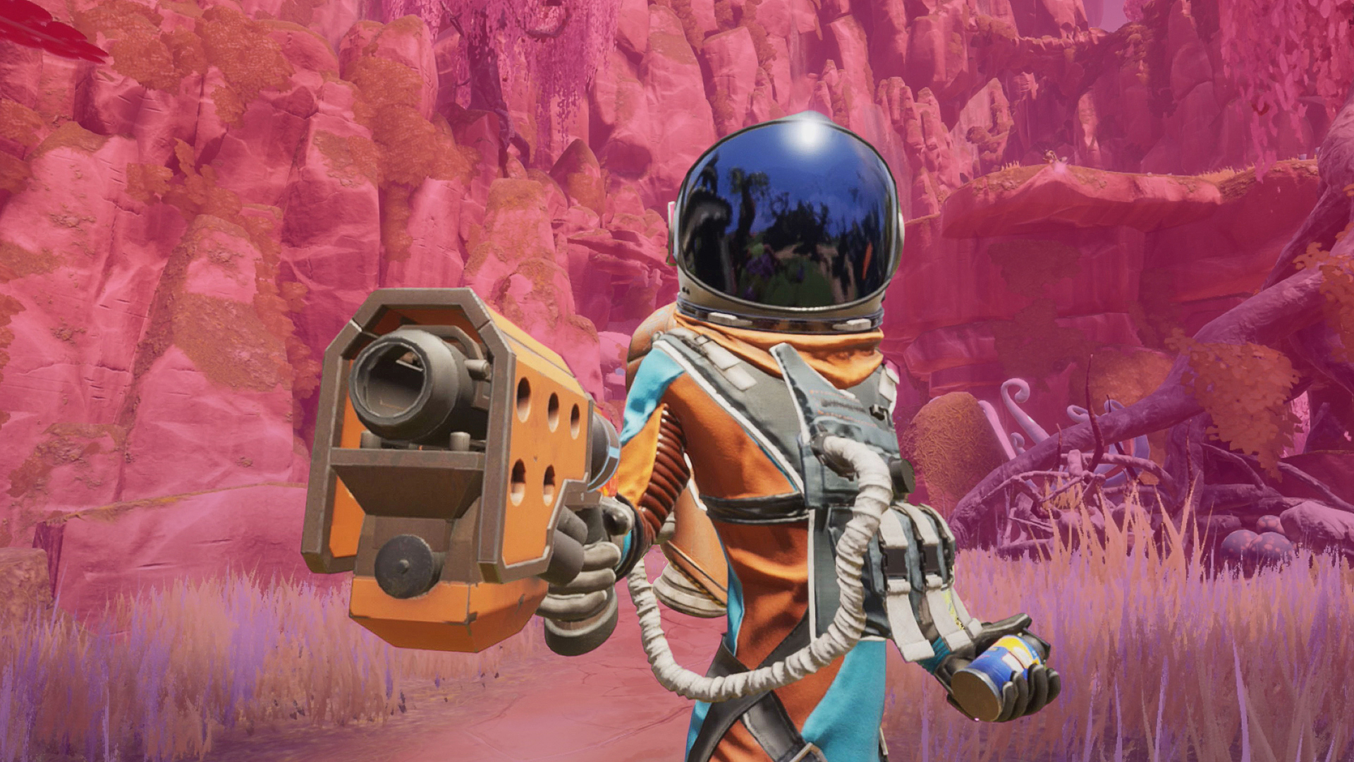 Character in orange and blue space suit and dark blue visor pointing a laser gun