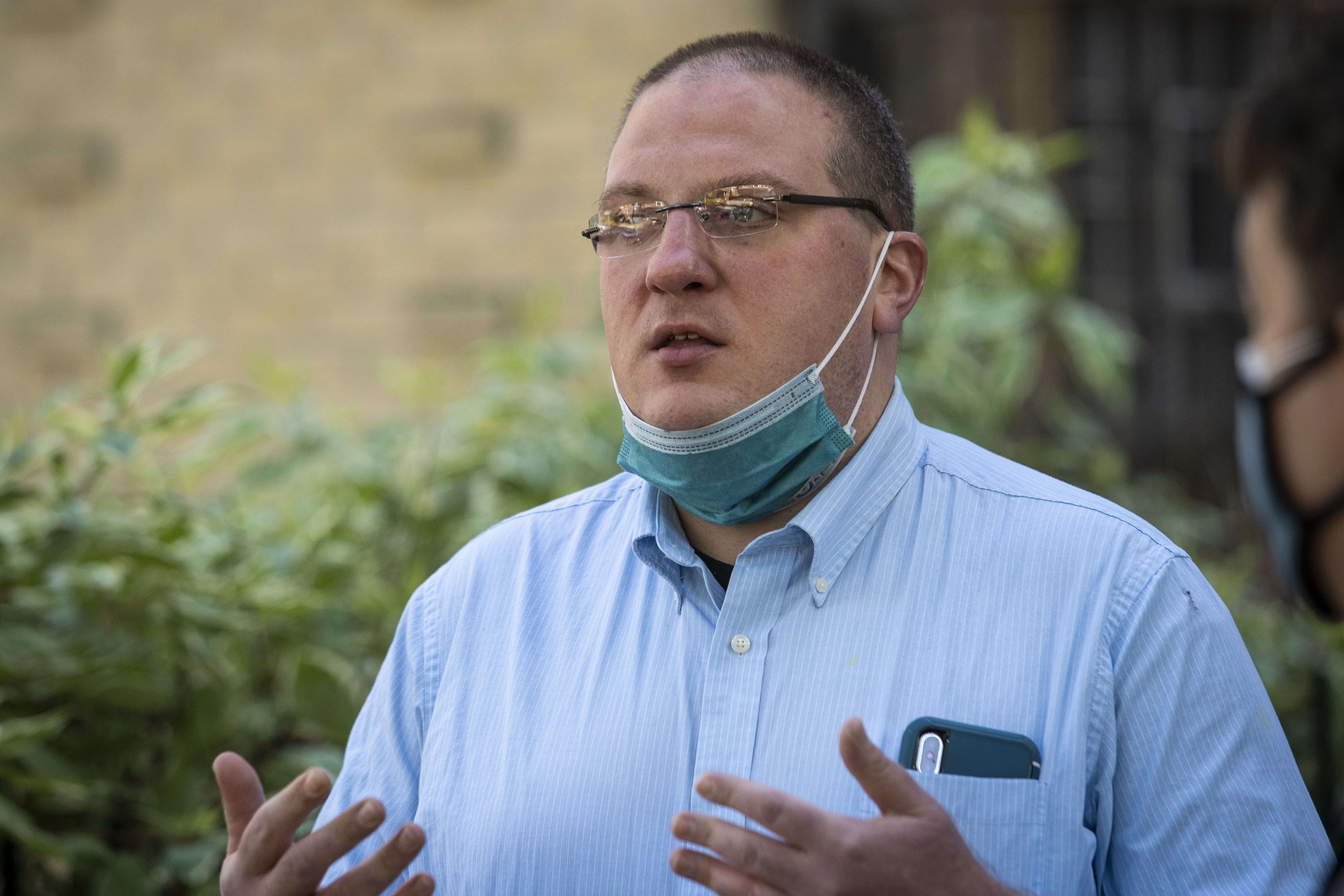 Brian Campbell, whose husband Douglass Watts was fatally shot in Rogers Park in 2018, speaks to reporters about the shooting in the North Side neighborhood, Friday afternoon, Oct. 2, 2020.