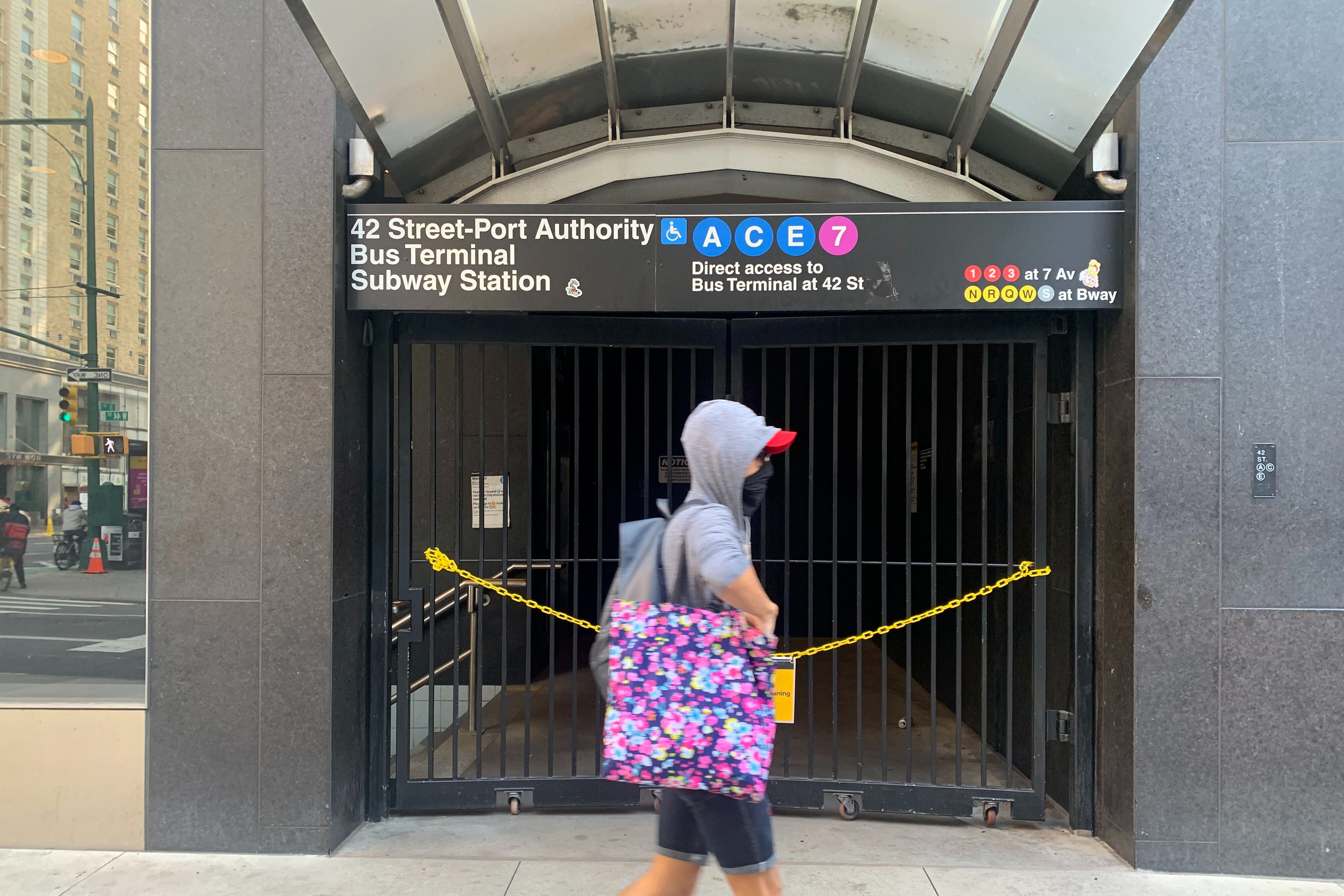A privately maintained subway entrance near the Port Authority remains closed, Sept. 18, 2020.