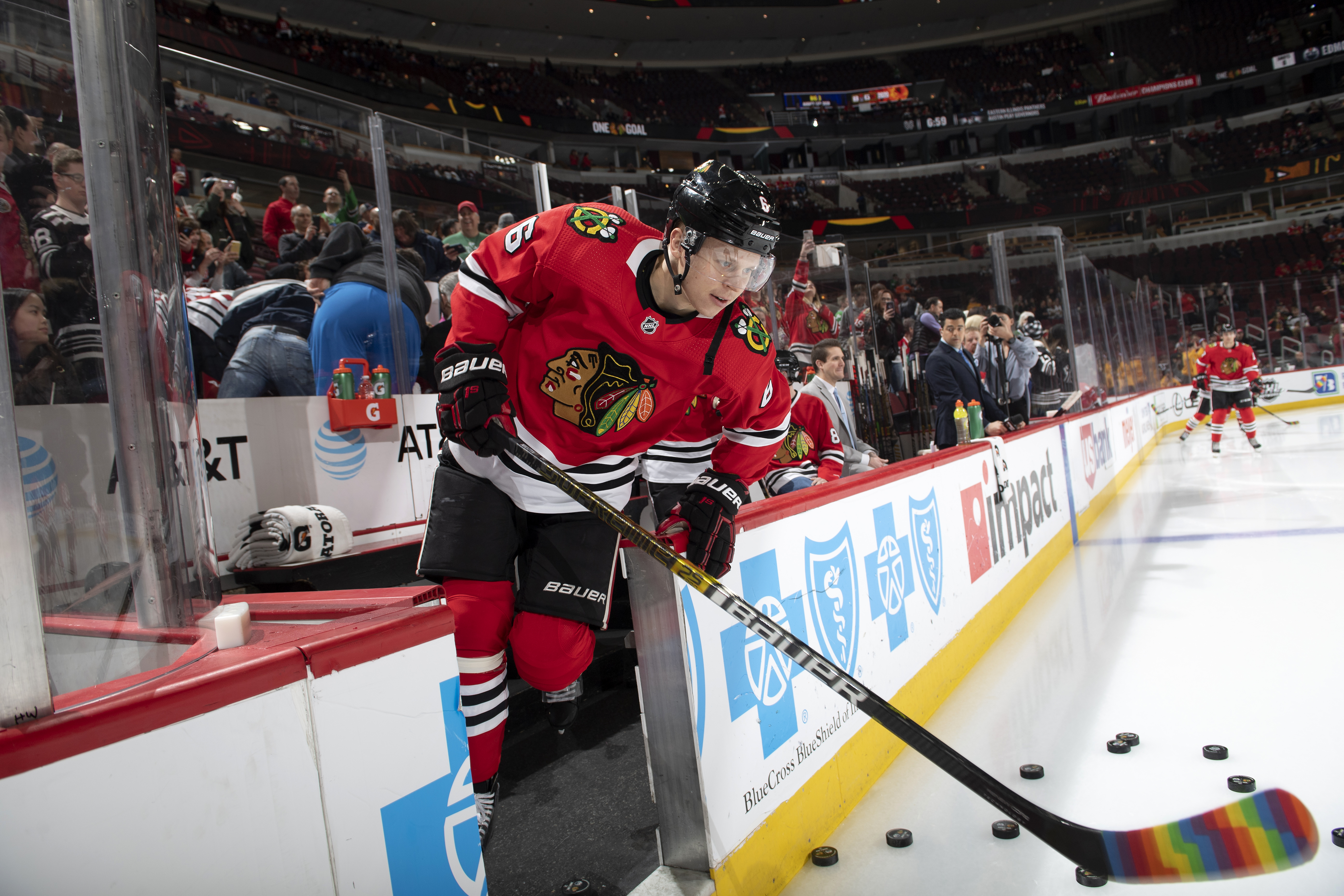 """Olli Maatta #6 of the Chicago Blackhawks uses a rainbow taped stick during warm-ups in support of the NHL's """"Hockey is for Everyone"""" initiative during Pride Night prior to the game against the Edmonton Oilers at the United Center on March 5, 2020 in Chicago, Illinois."""