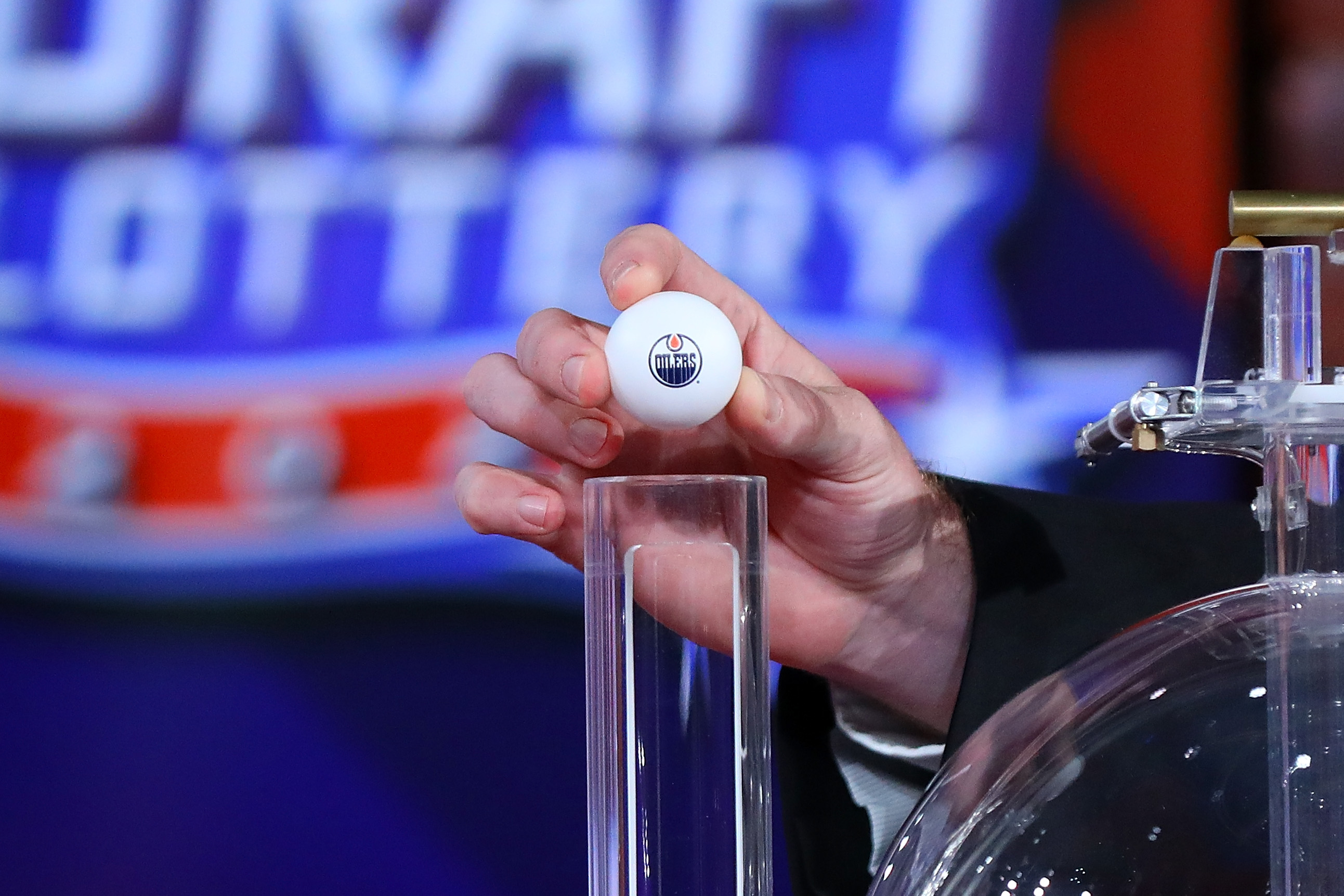 SECAUCUS, NEW JERSEY - AUGUST 10: Edmonton Oilers lottery ball is seen during Phase 2 of the 2020 NHL Draft Lottery on August 10, 2020 at the NHL Network's studio in Secaucus, New Jersey.