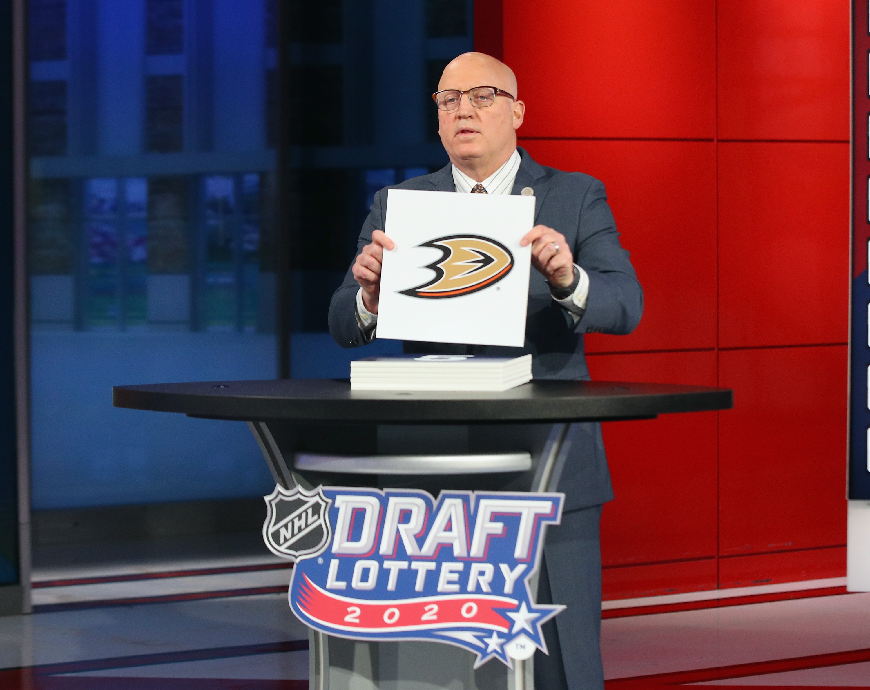SECAUCUS, NEW JERSEY - JUNE 26: National Hockey League Deputy Commissioner Bill Daly announces the Anaheim Ducks draft position during Phase 1 of the 2020 NHL Draft Lottery on June 26, 2020 at the NHL Network's studio in Secaucus, New Jersey.