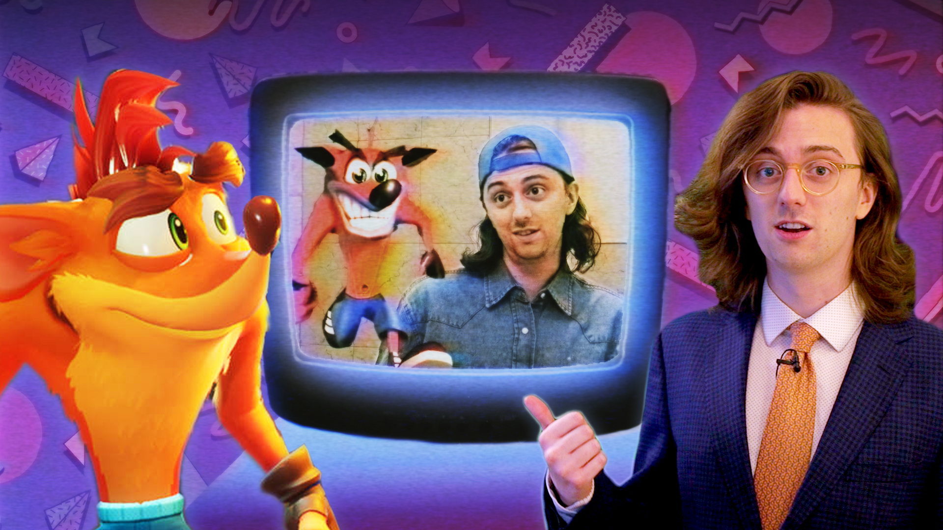 Modern Crash Bandicoot and Brian David Gilbert stand in front of a CRT TV that shows an image of '90s Crash Bandicoot and Brian wearing a ful denim outfit .
