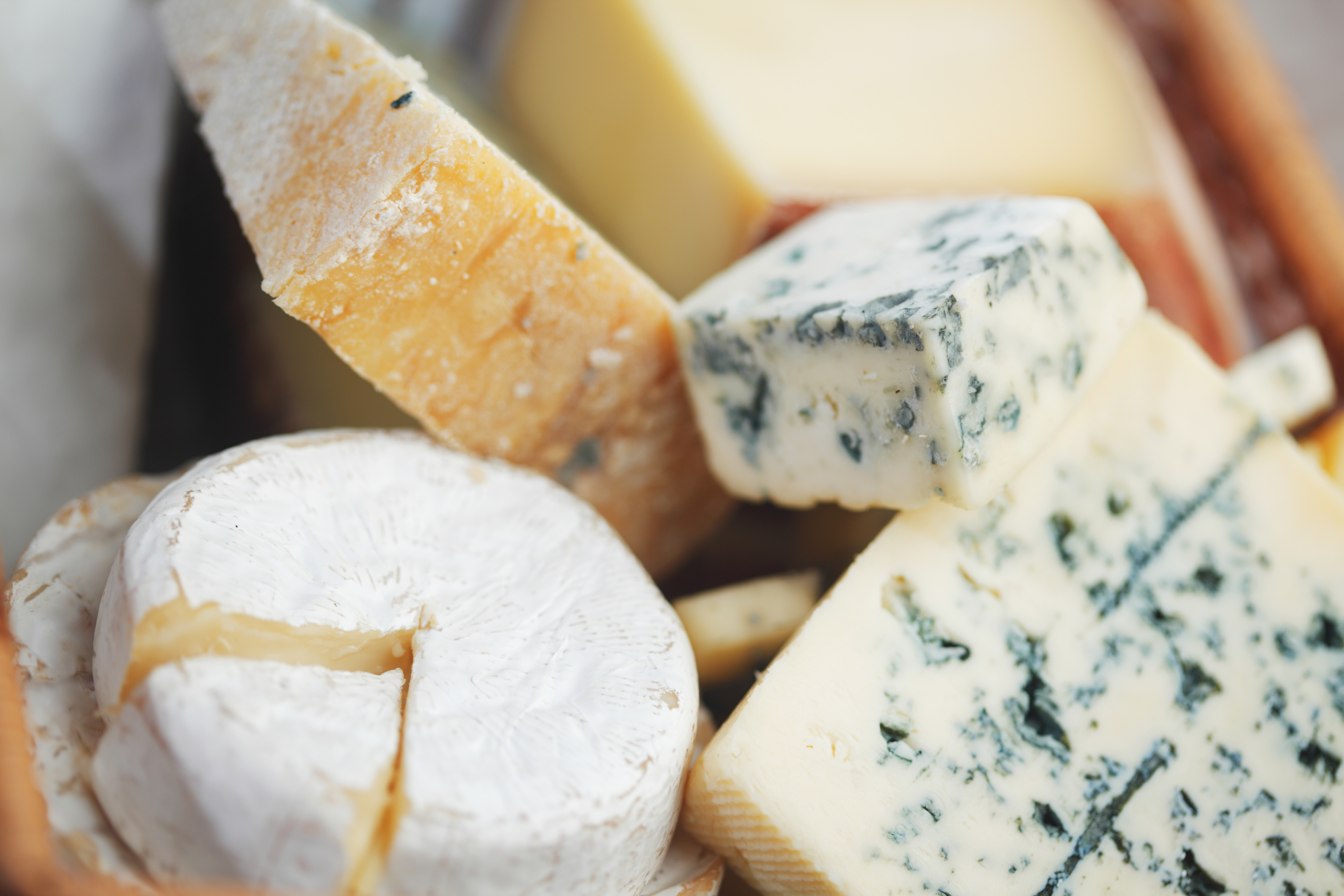 Various kinds of cheese piled together