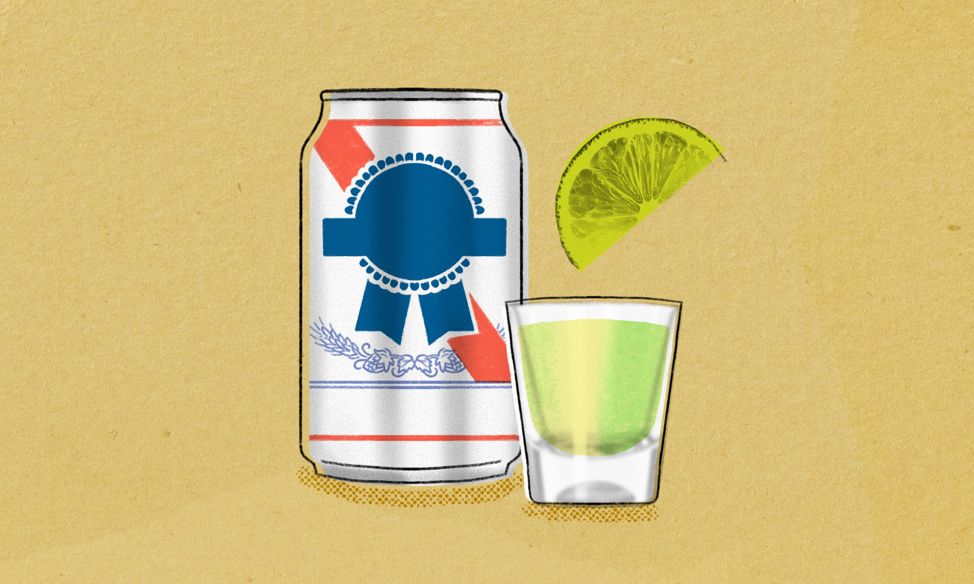 illustration of a can of generic looking cheap bear next to a shot glass containing a lime green liquid, with a lime slice hovering over it