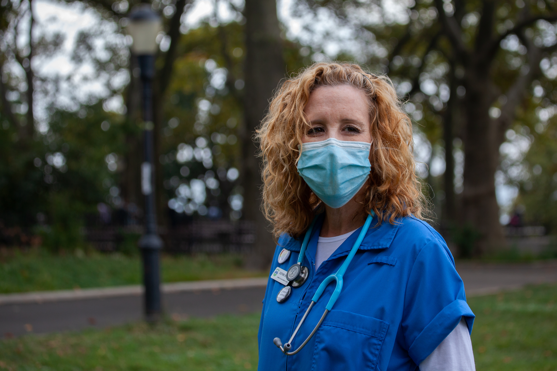 Lehman College nursing student Susynne McElrone takes a walk through Sunset Park, Brooklyn, Sept. 29, 2020.