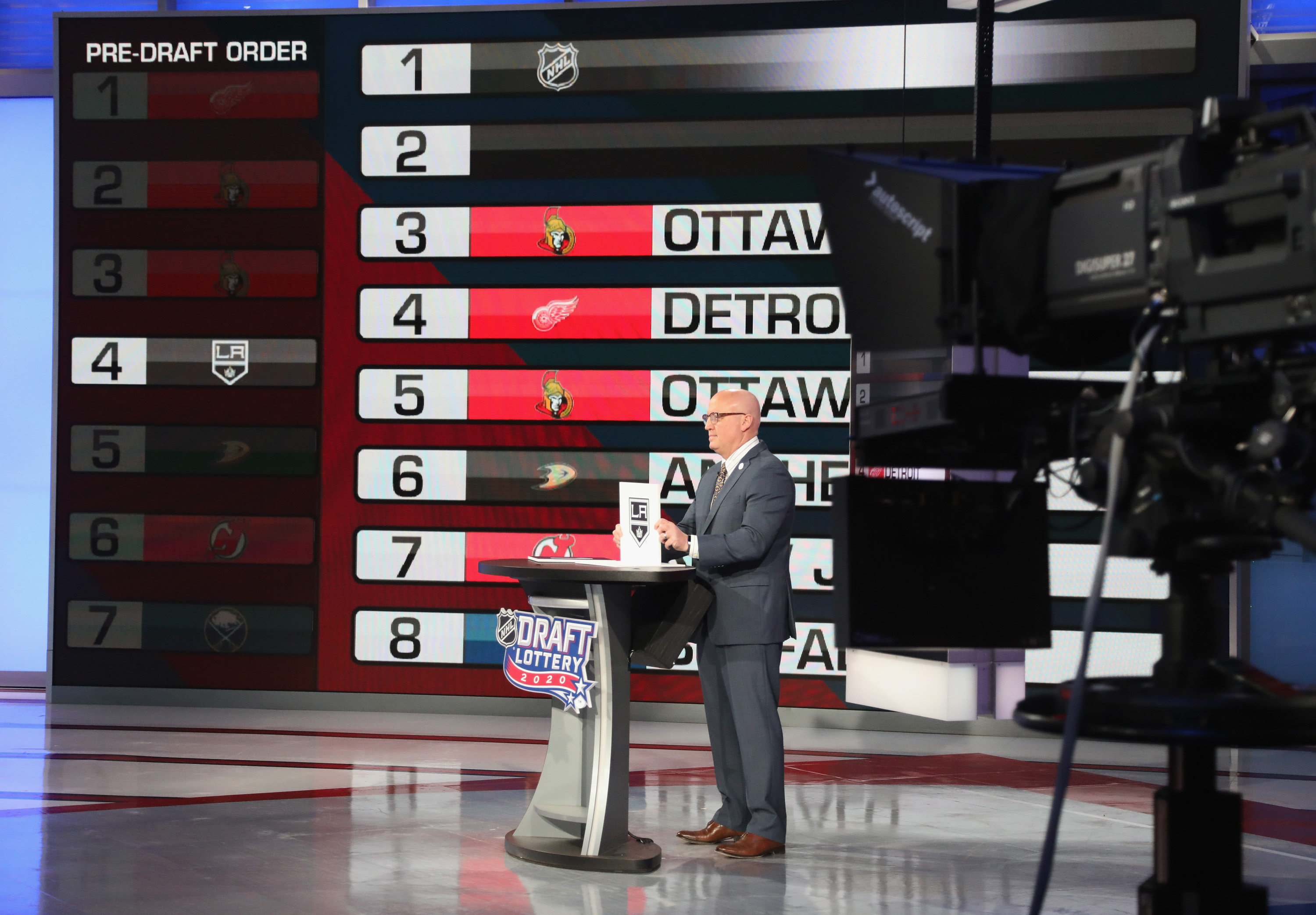 National Hockey league Deputy Commissioner Bill Daly announces the Los Angeles Kings draft position during Phase 1 of the 2020 NHL Draft Lottery on June 26, 2020 at the NHL Network's studio in Secaucus, New Jersey.