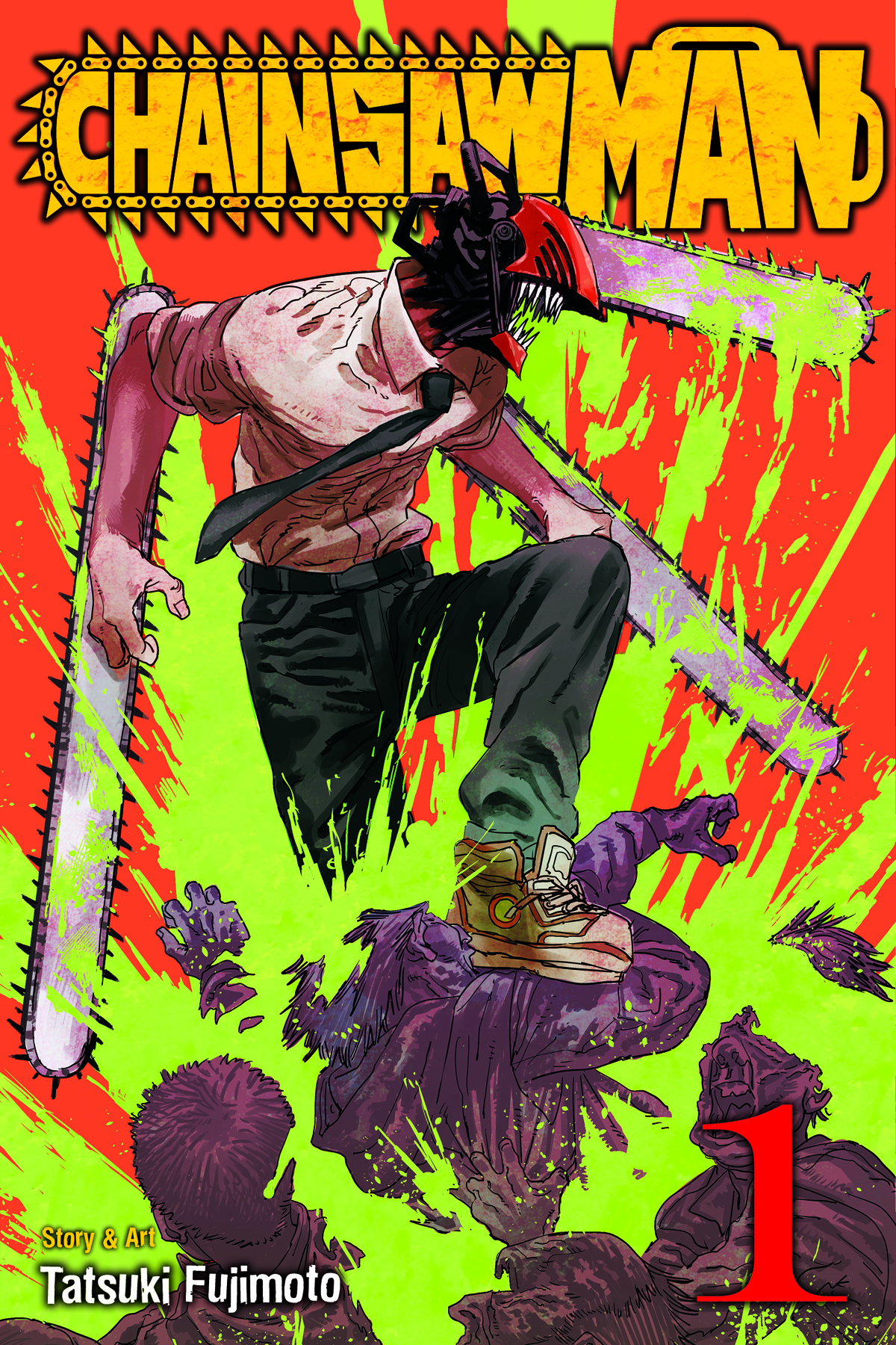 A man with a chainsaw for a head, wearing a button up and a tie, ripping through several people