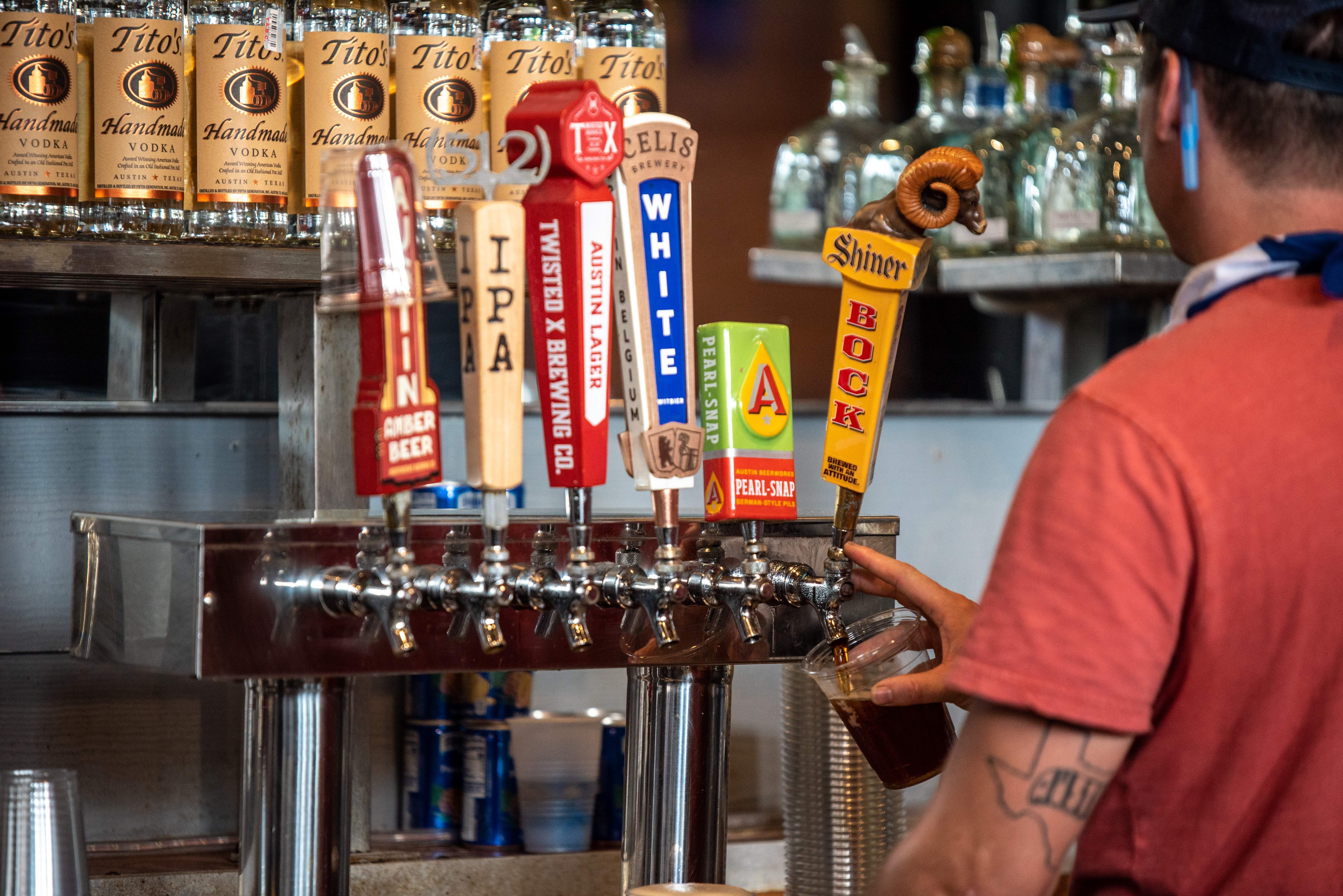 Beer taps at an Austin bar